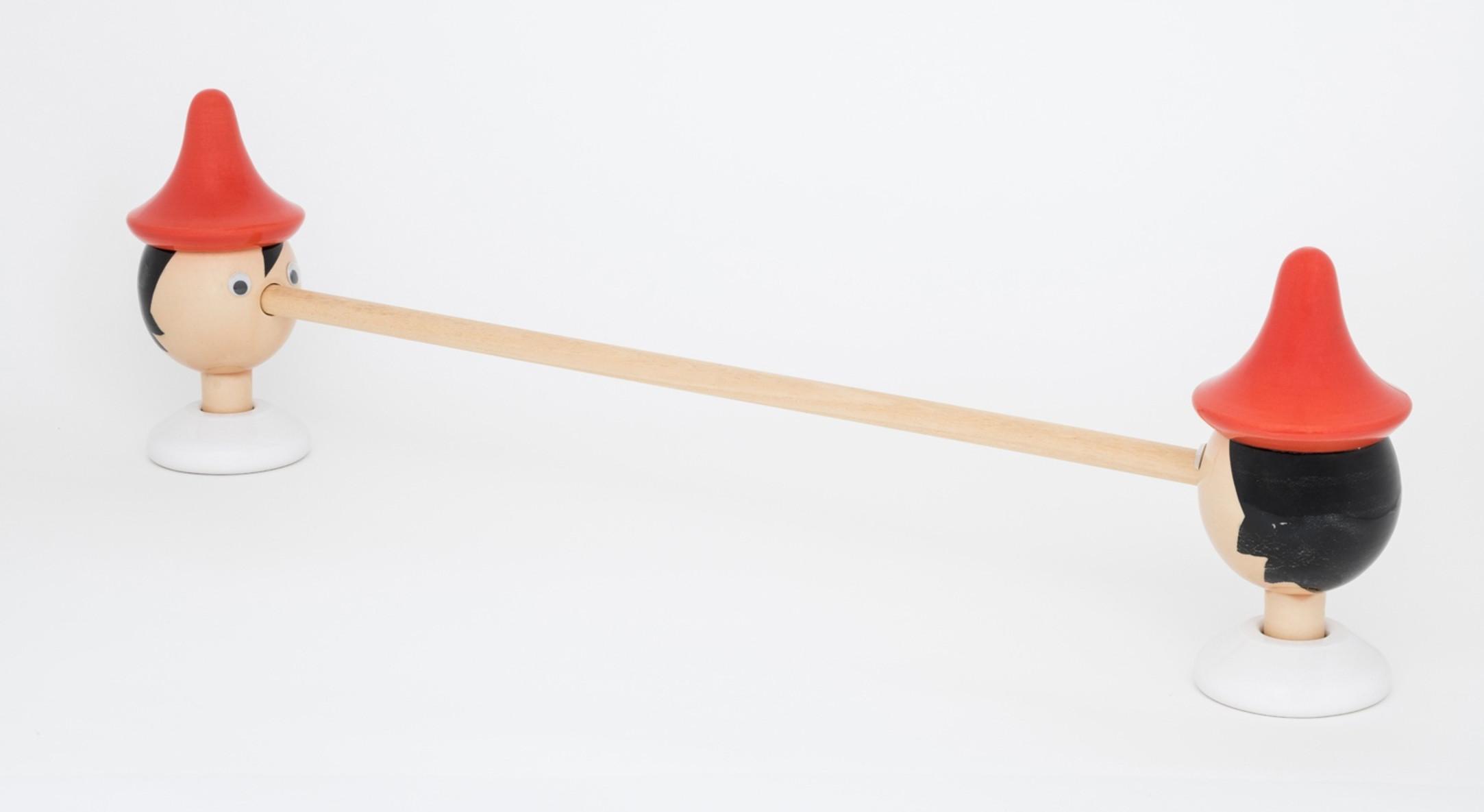 Richard Slee, Pinocchio, 2017, Glazed ceramic with dolls eyes and wood, 31 x 100 cm, 12 1/4 x 39 3/8 in