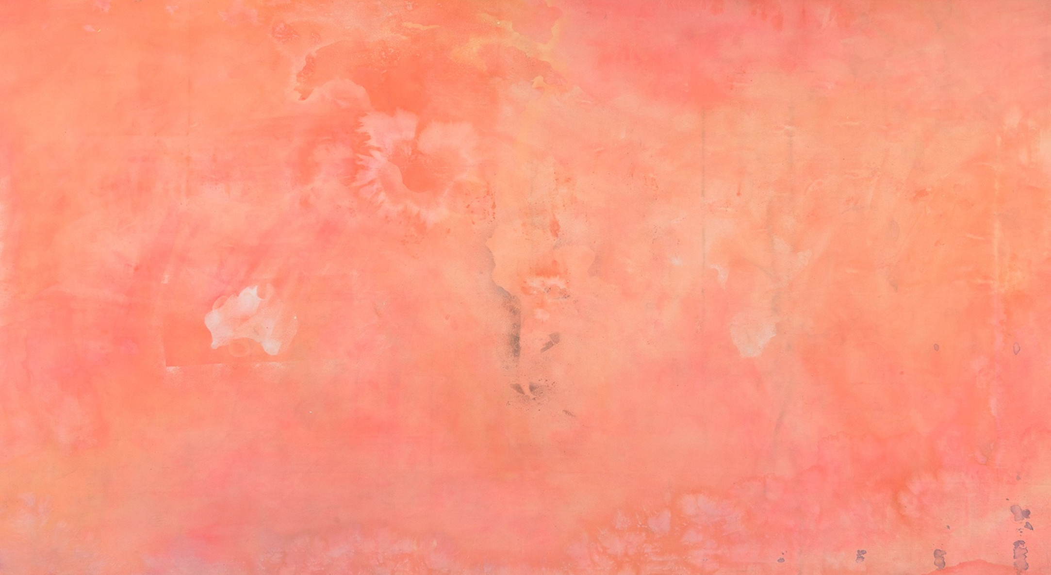 Frank Bowling, False Start, 1970, Acrylic and spray paint on canvas, 232.5 x 548 cm, 91 1/2 x 215 3/4 in