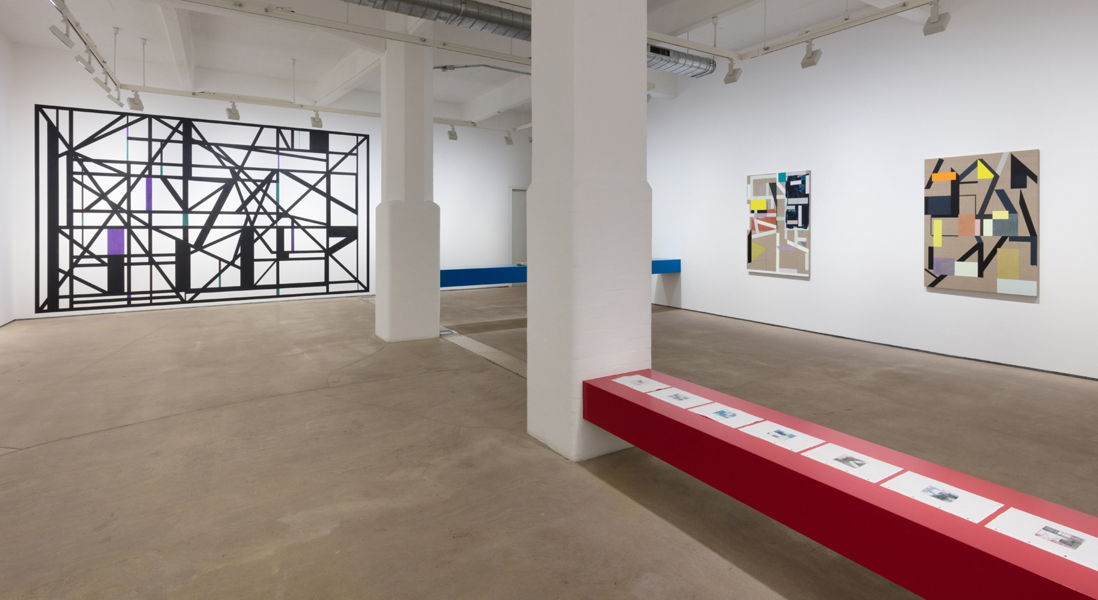 Installation view of Andrew Bick, Concrete-Disco-Systems, at Hales London 2019