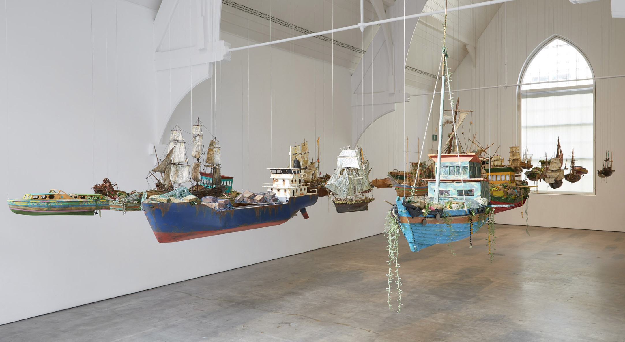 Installation view of Hew Locke, Here 's the Thing at Ikon Gallery, Birmingham
