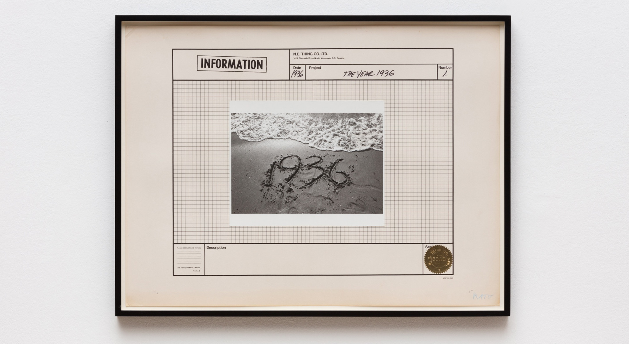 IAIN BAXTER& / N.E.Thing Co., The Year 1936, 1970, Silver gelatin print, ink, paper, foil seal, and offset lithograph on paper, 45 x 60.5 cm, 17 3/4 x 23 7/8 in, Framed: 49 x 64.3 x 3 cm, 19 1/4 x 25 1/4 x 1 1/8 in