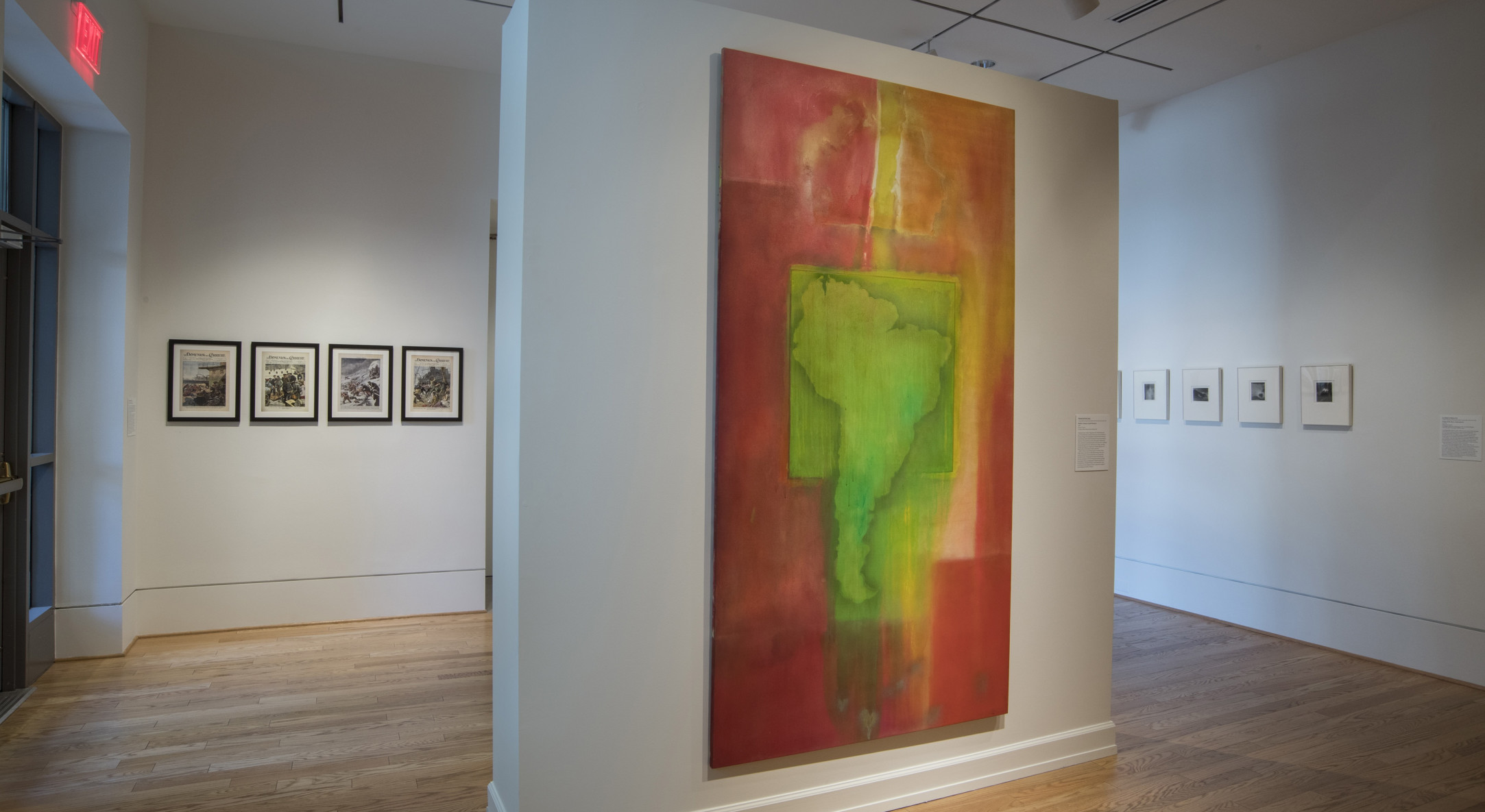 Installation view of Frank Bowling, The Warmth of Other Suns: Stories of Global Displacement at The Phillips Collection