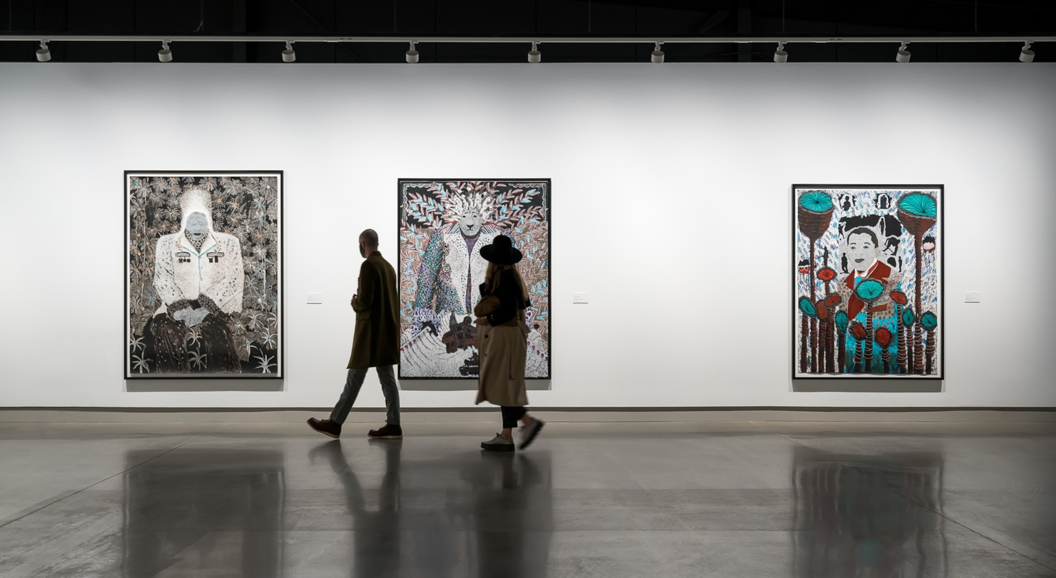 Omar Ba: Same Dream, Délit de Faciès 2 (2013), Dommages Collateraux (2014), Archive Nationale 2 (2017). Photography by Blaine Campbell, courtesy of Contemporary Calgary
