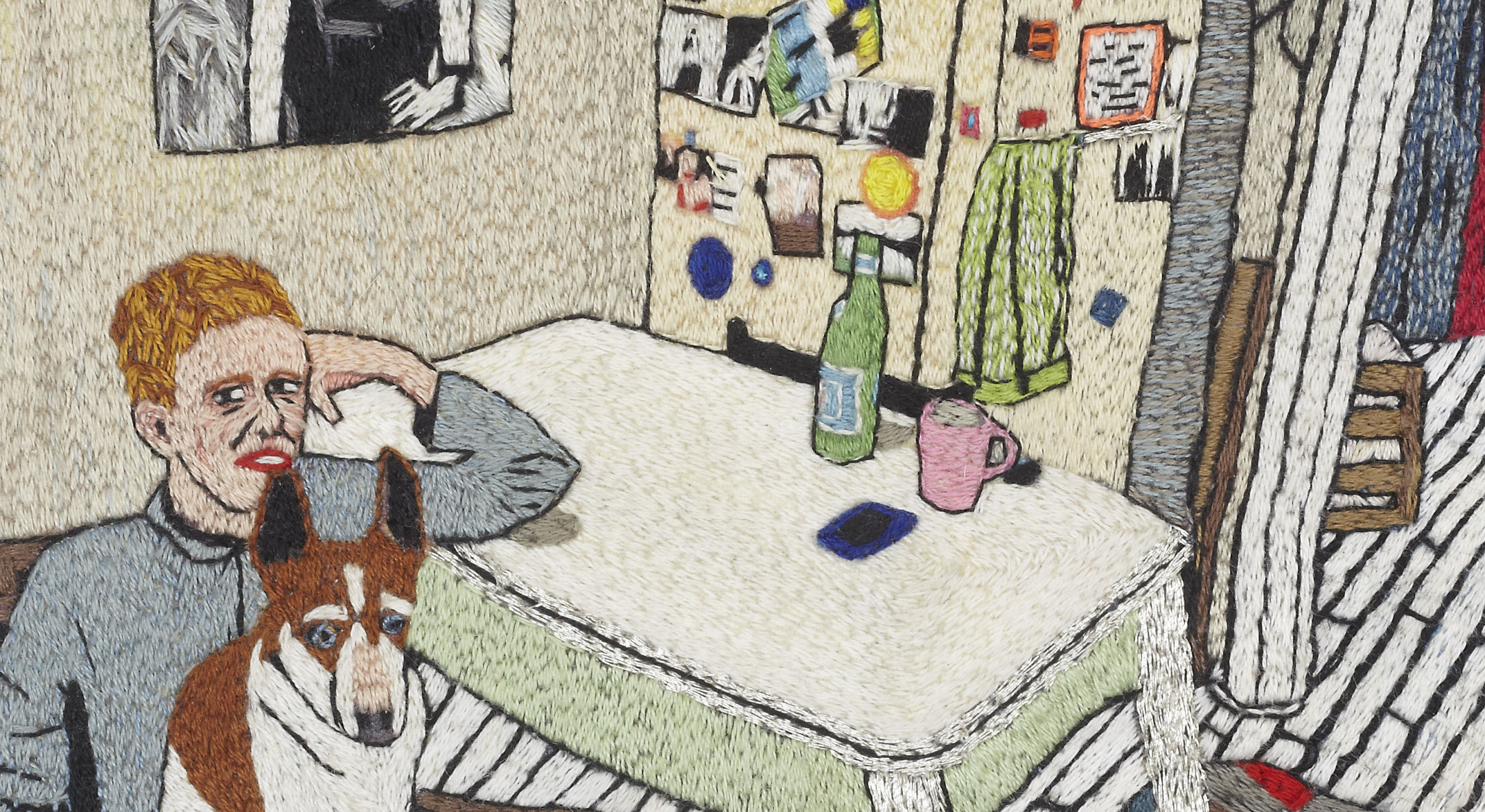 Alice O'Malley in her kitchen with Nelson, 2015 (detail)