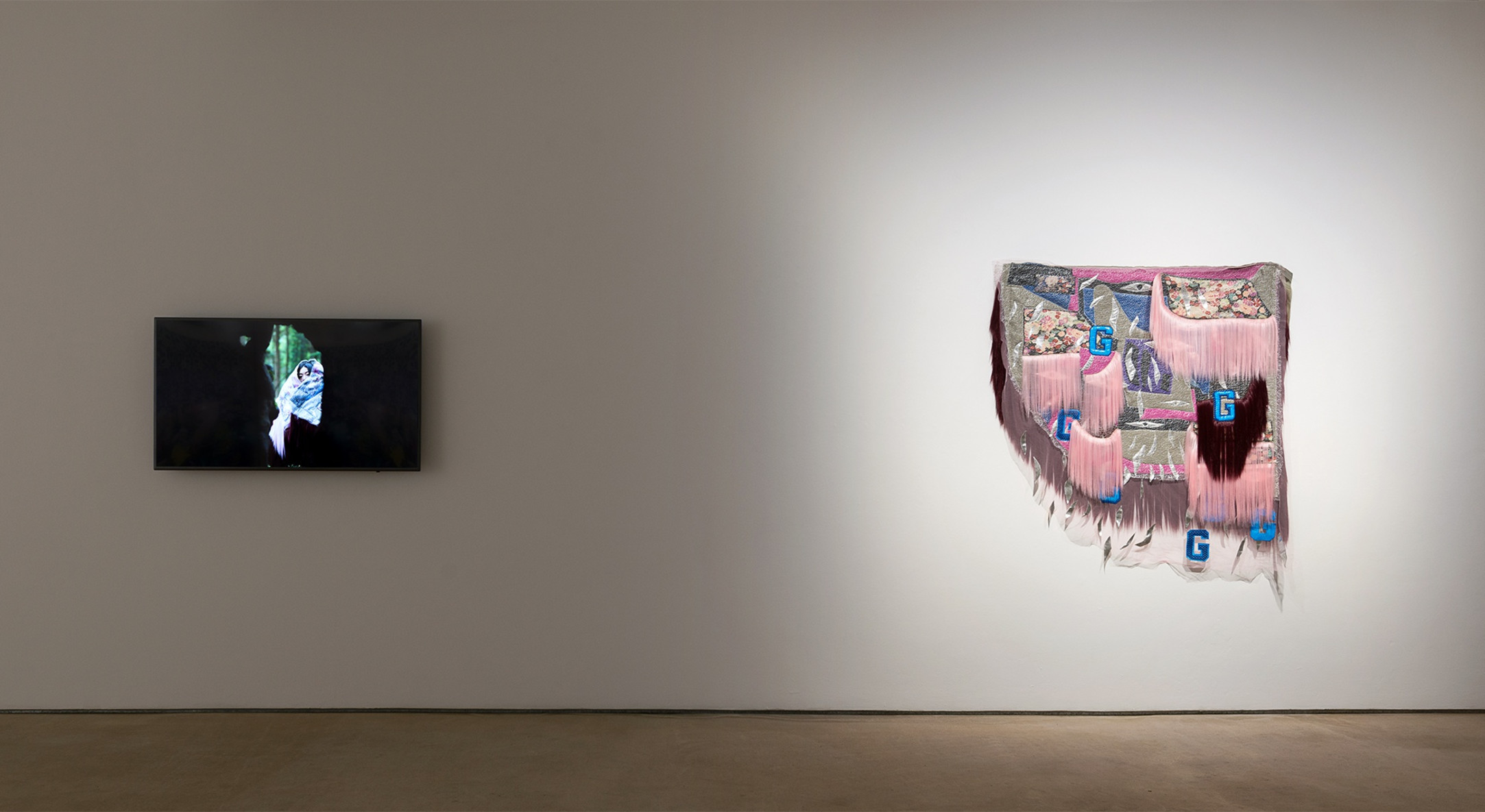 Installation view of Ebony G Patterson, Thomas J Price, and Zadie Xa at Hales London