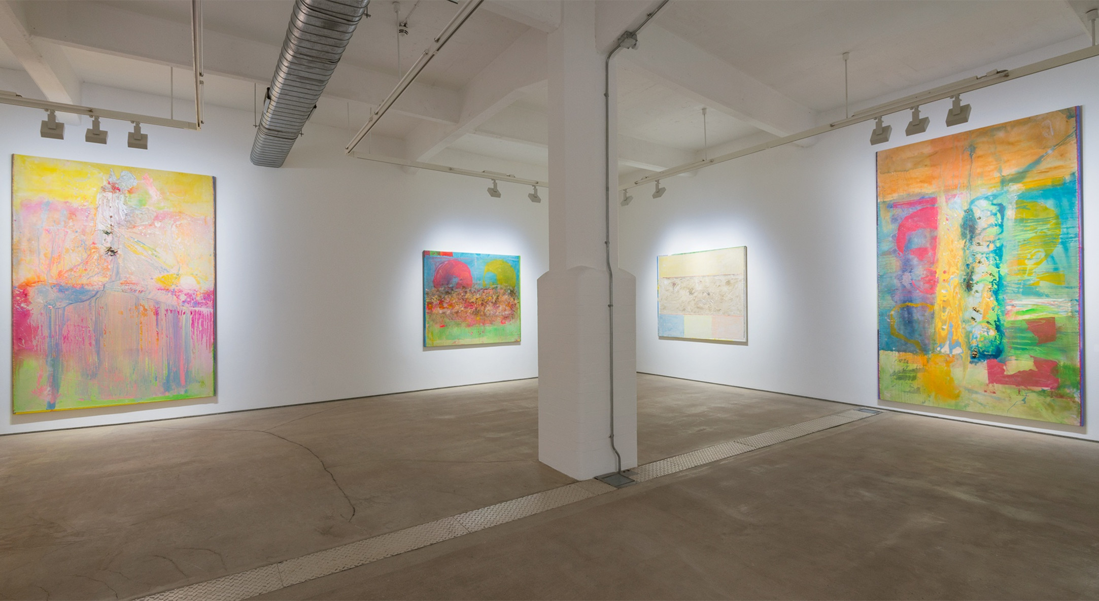 Installation view of Frank Bowling, Fishes, Wishes in Summertime Blue at Hales London