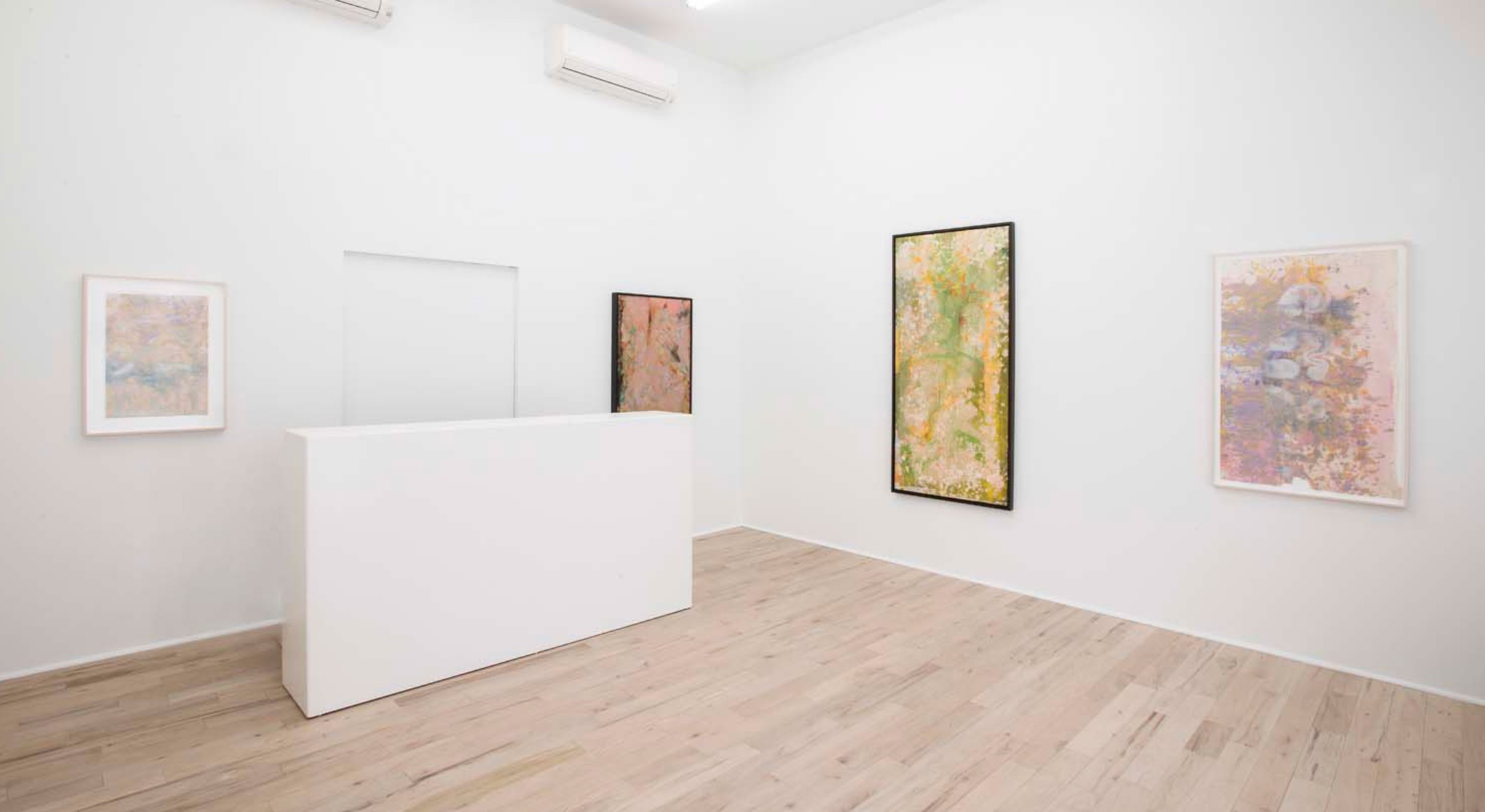 Installation view of Frank Bowling, Metropolitanblooms at Hales Project Room, New York, 2017