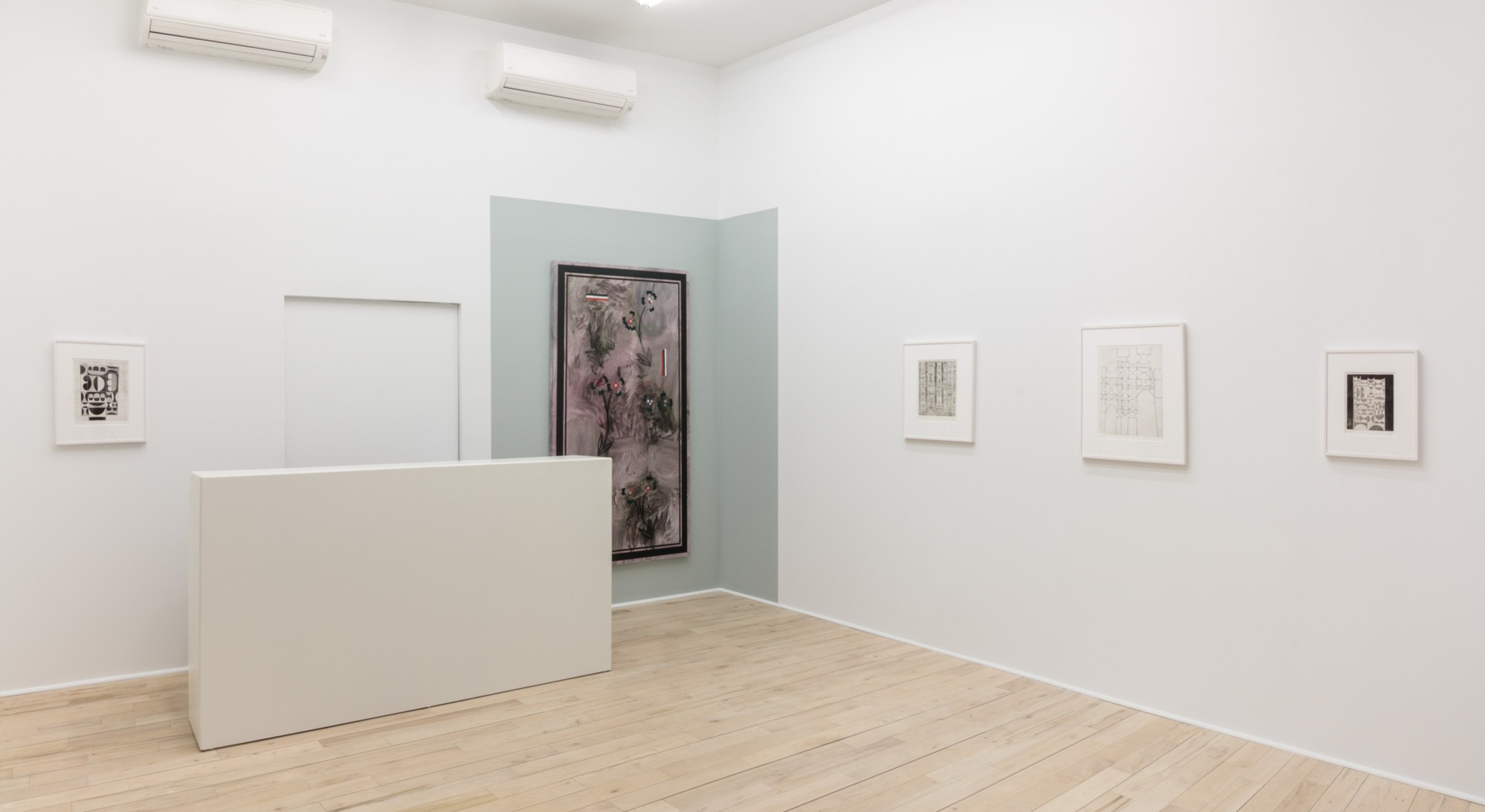 Installation view of Kamrooz Aram and Anwar Jalal Schemza at Hales Project Room, New York, 2018