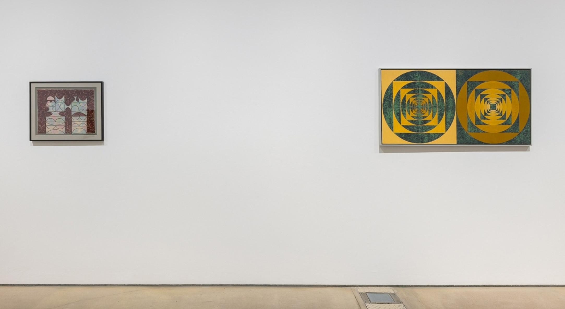Installation view of Anwar Jalal Schemza, Paintings from the 1960s, at Hales London, 2018