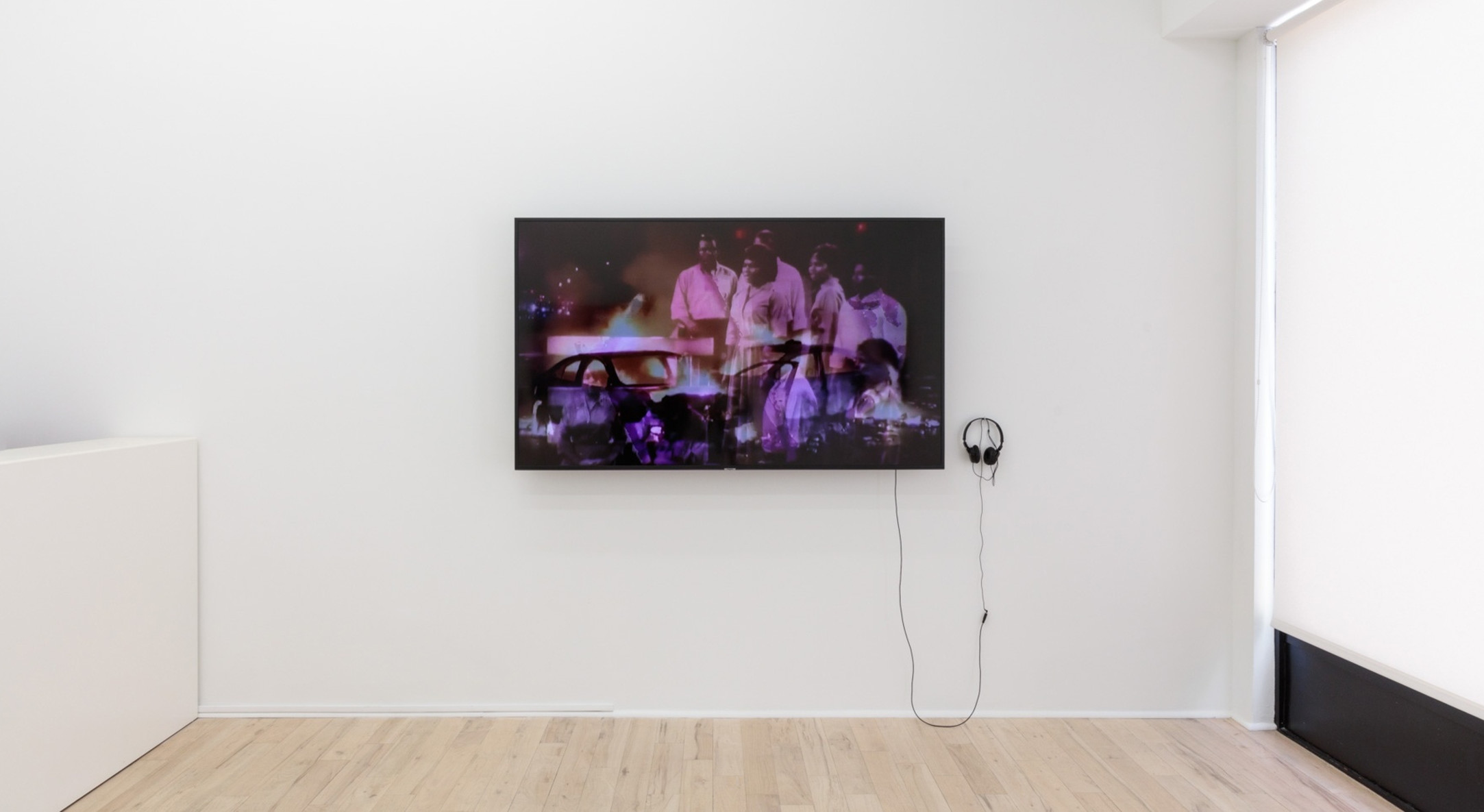 Installation view of How Does This Make You Feel?, Ja'Tovia Gary, Shigeko Kubota, Hunter Reynolds, Erica Scourti, at Hales Project Room, New York