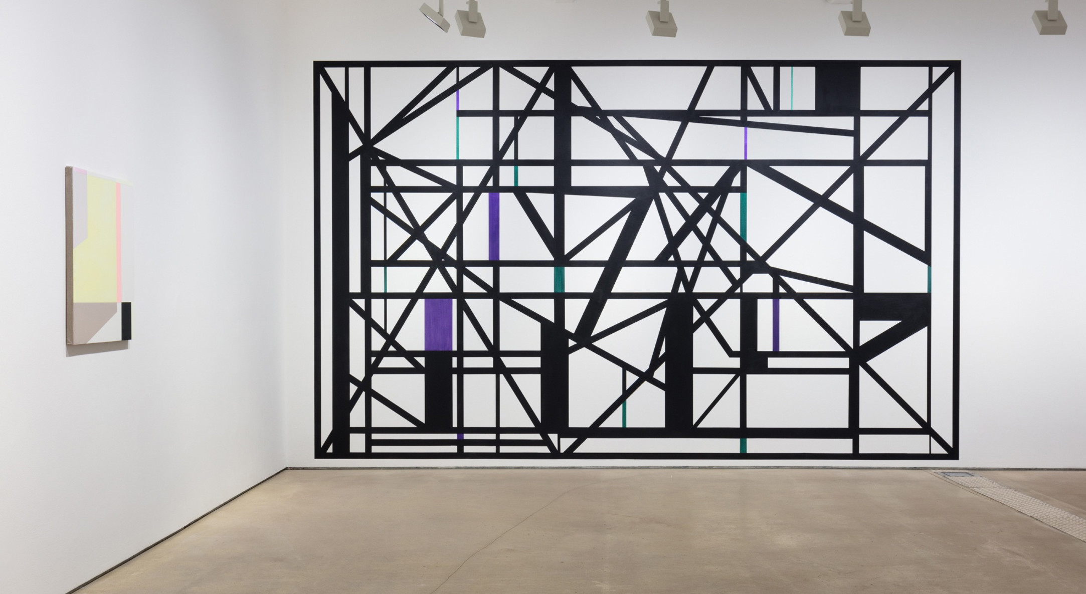 Installation view of Andrew Bick Concrete-Disco-Systems at Hales Gallery London, 2019