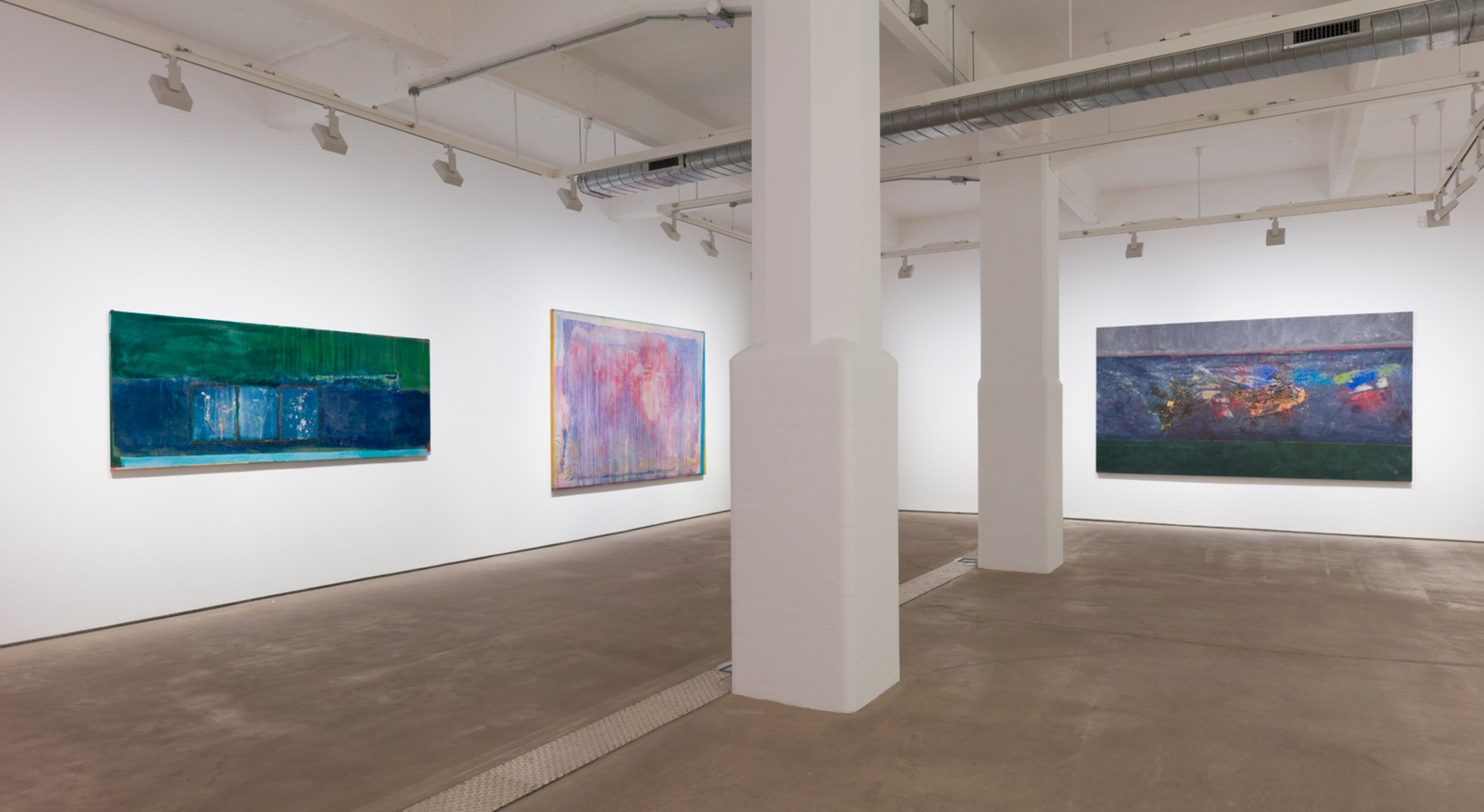 Installation view of Frank Bowling, More Land than Landscape at Hales London