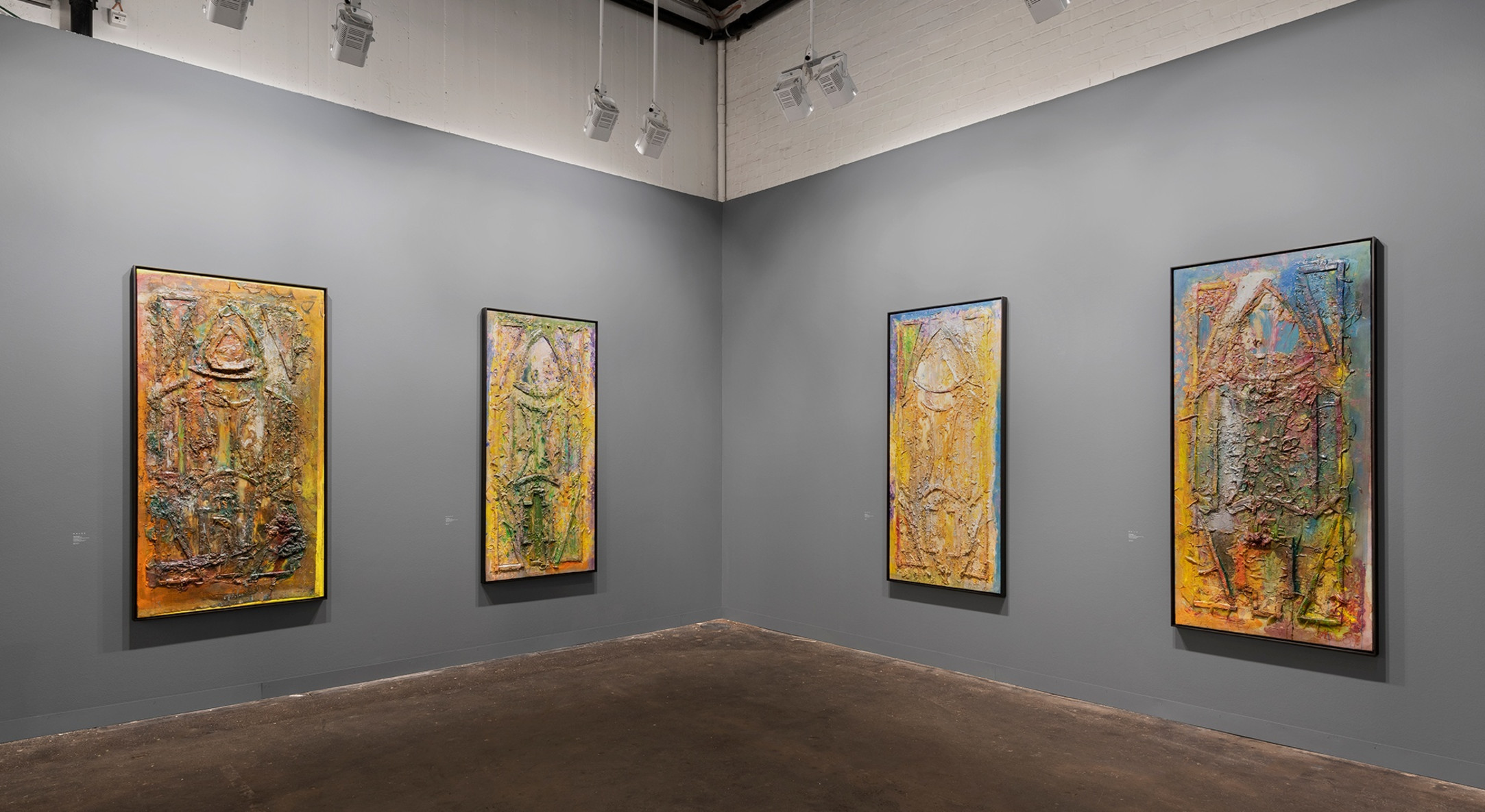 Installation view of Hales Gallery booth, Frank Bowling: The Cathedral Paintings, at Art Basel, Switzerland, 2019