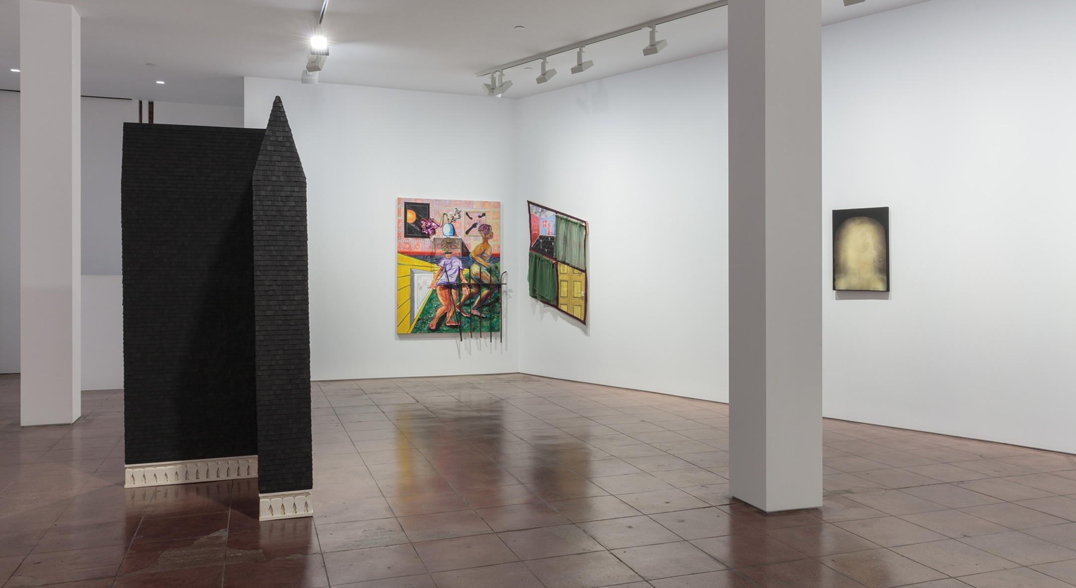 Installation view of Vernacular Interior, Beverly Buchanan, Genevieve Gaignard, Trenton Doyle Hancock, Esteban Jefferson, Devin N Morris, Tajh Rust, Curtis Talwst Santiago, Cal Siegel, and Becky Suss at Hales New York, 2019