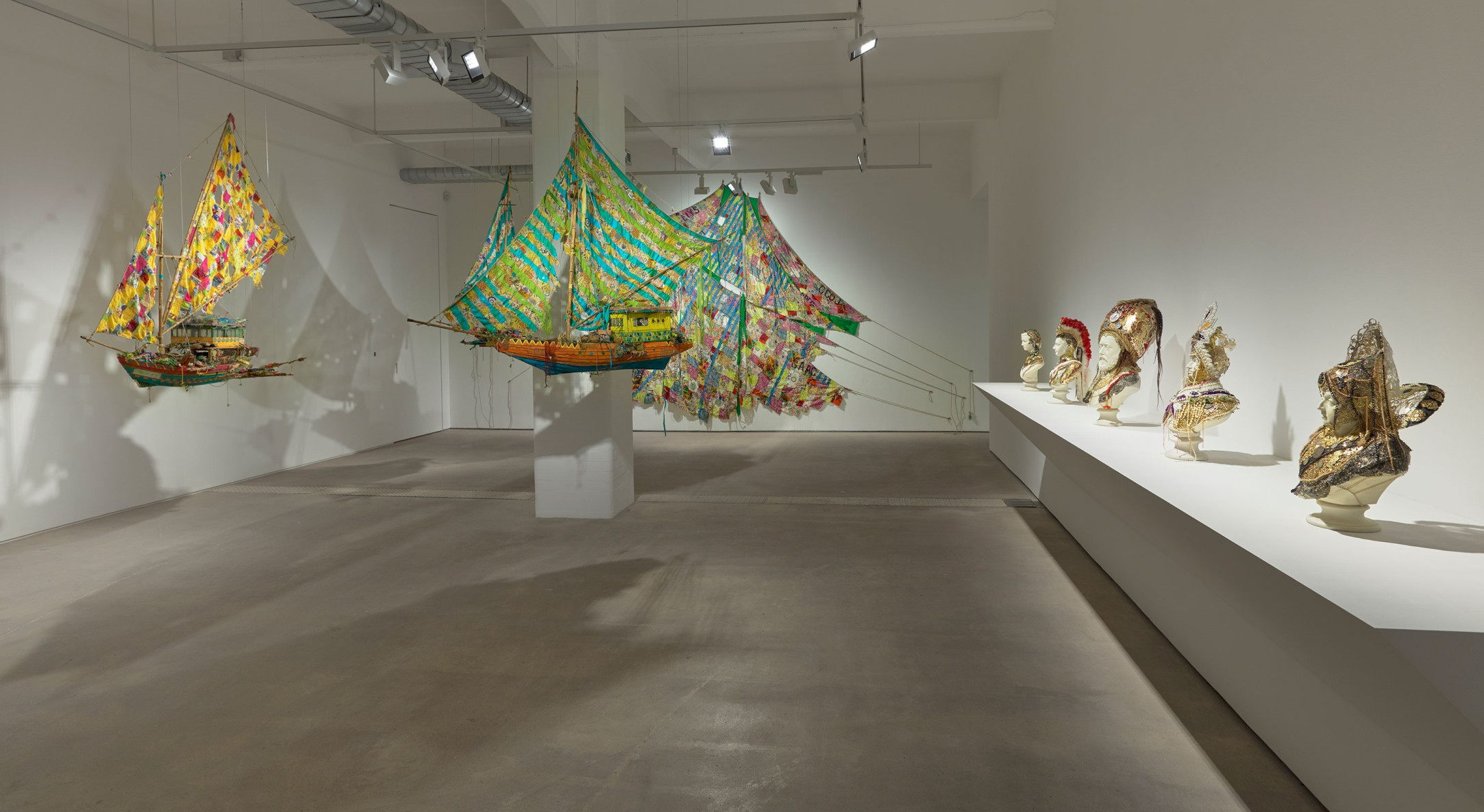 Installation view of Hew Locke, Where Lies the Land at Hales London