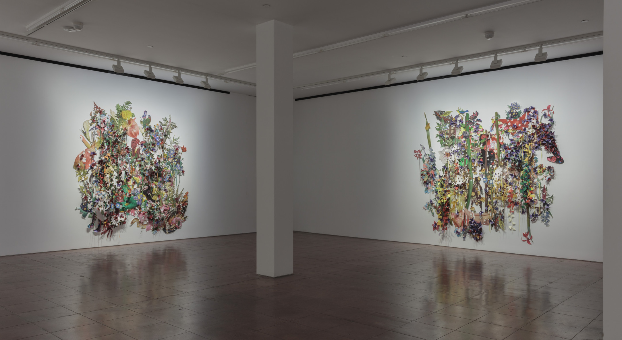 Installation view of Ebony G. Patterson, ... to dig between the cuts, beneath the leaves, below the soil… at Hales New York