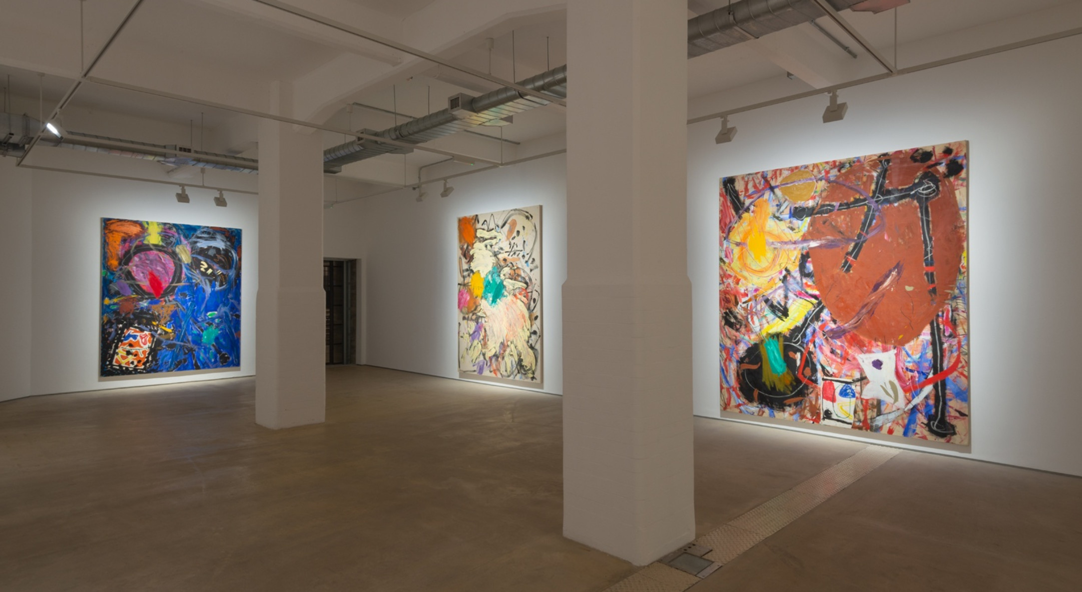 Installation view of Basil Beattie, Cause & Effect at Hales London, 2020