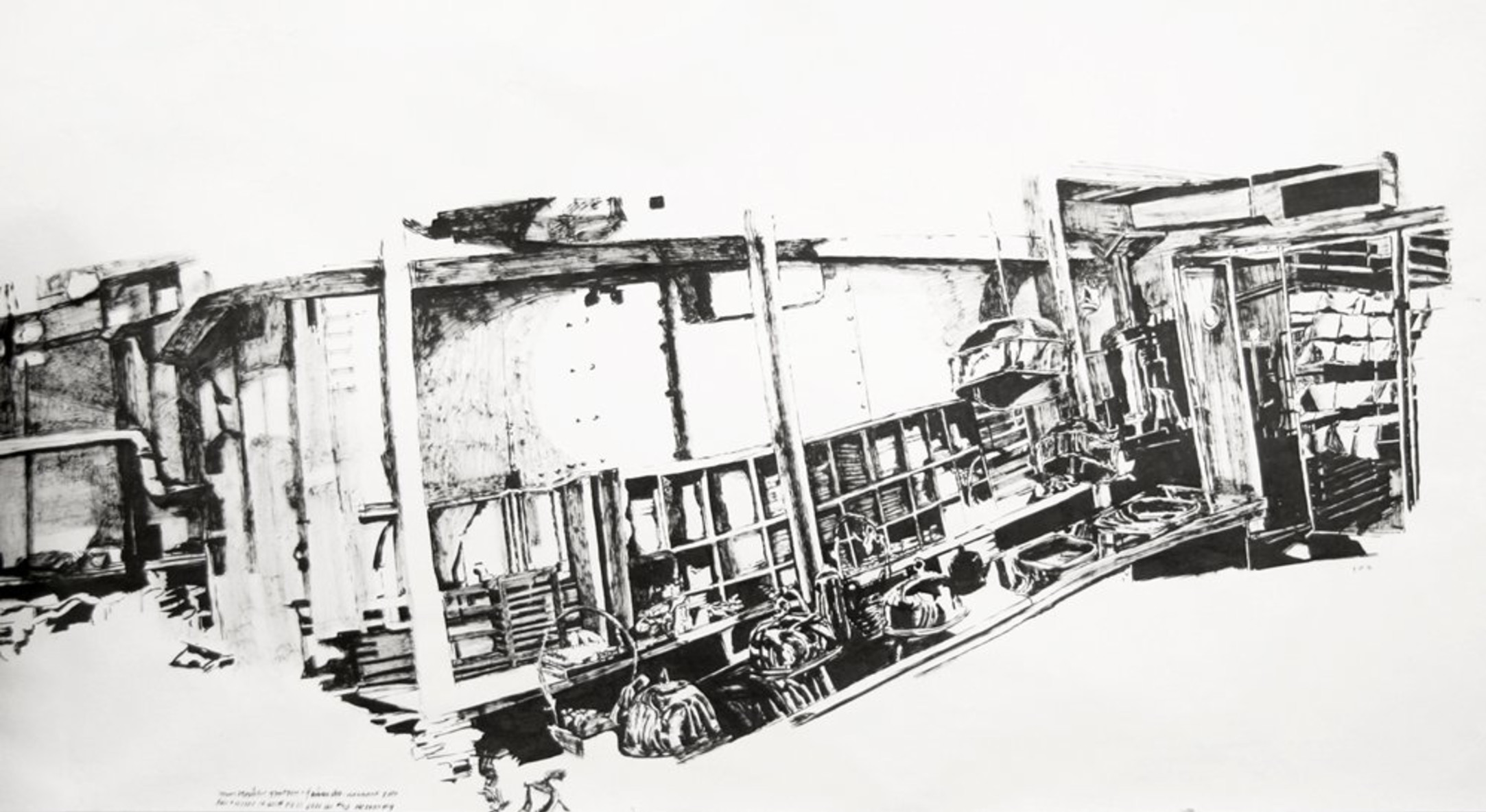 Detail of Dawn Clements, First Class (A Night to Remember, 1959), 2006, Sumi ink on paper, 165 x 985 cm, 65.01 x 388.09 in