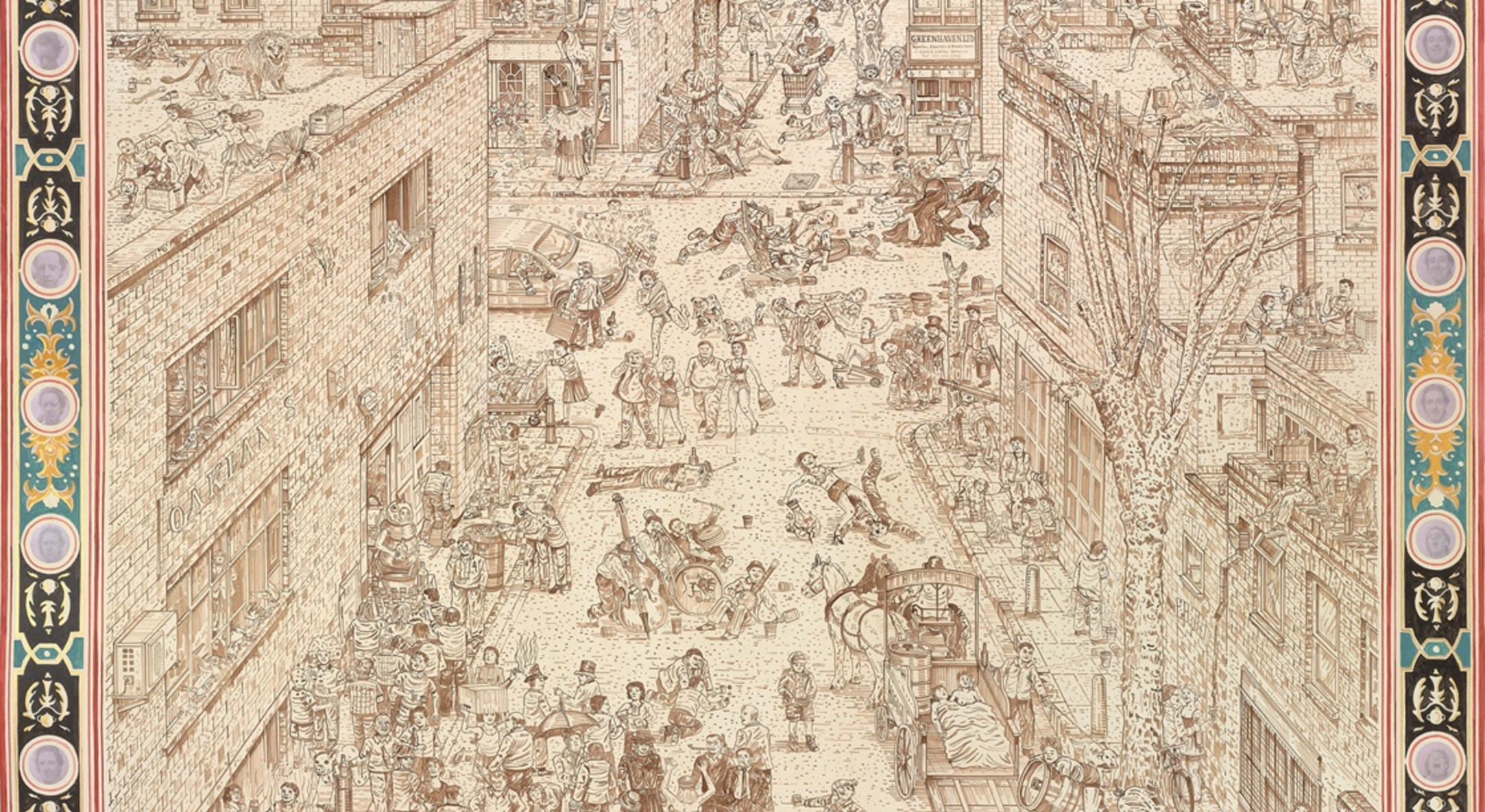 Detail of Adam Dant, British Drinking, 2010, Ink on paper, 200.5 x 256.5 cm, 79 x 101.06 in