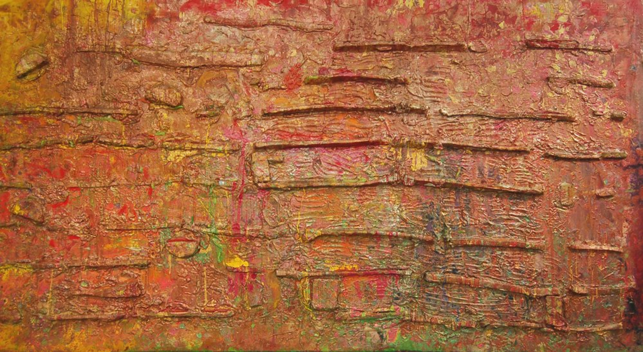 Frank Bowling, Alluviumwold, 1985, Acrylic on canvas, 178.8 x 333 cm, 70 3/8 x 131 1/8 in