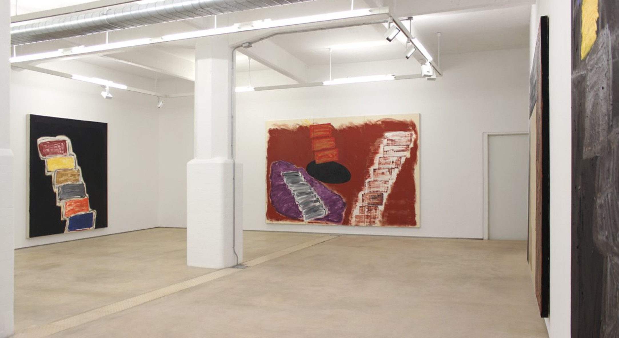 Installation view of Basil Beattie, Above and Below: Step Paintings 1990-2013 at Hales London