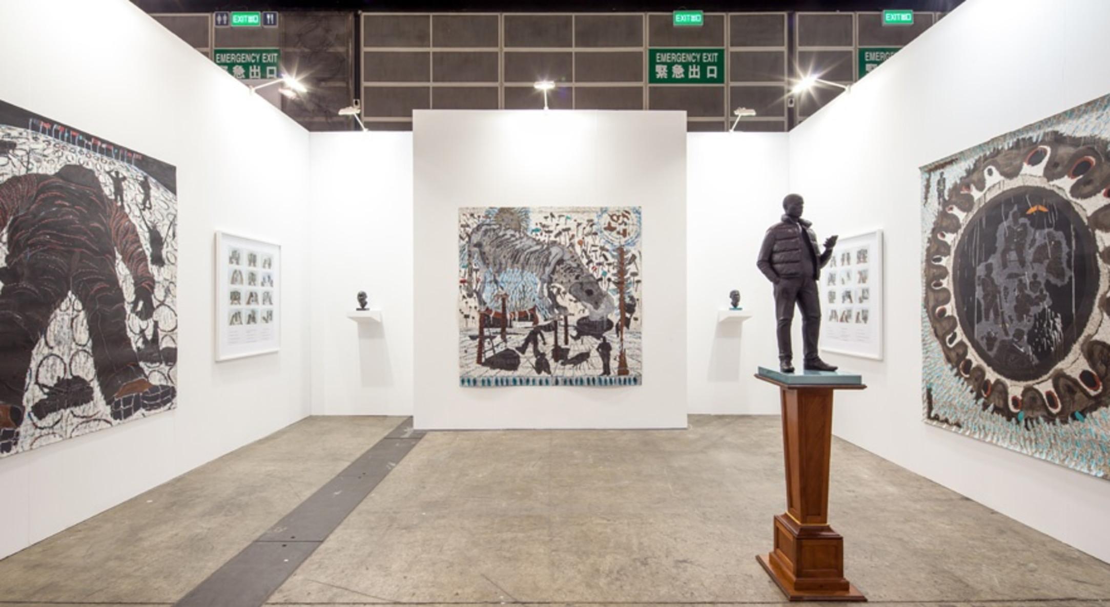 Installation view of Thomas J Price and Omar Ba in Hales Gallery Booth at Art Basel Hong Kong 2014