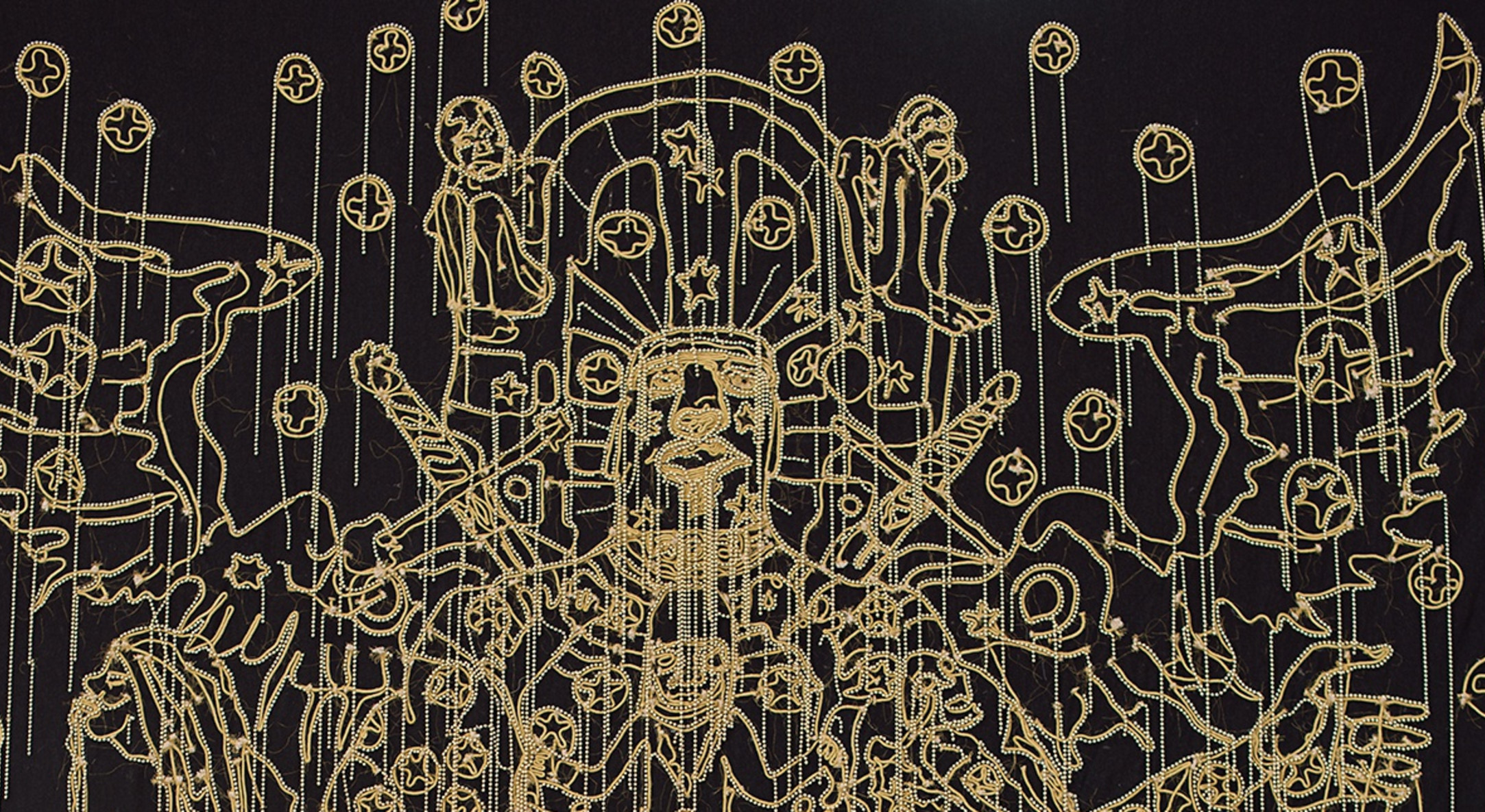 Detail of Hew Locke, Chariots of the Gods, 2009, Cord and bead embroidery on cloth, 480 x 375 cm, 189 x 147 5/8 in