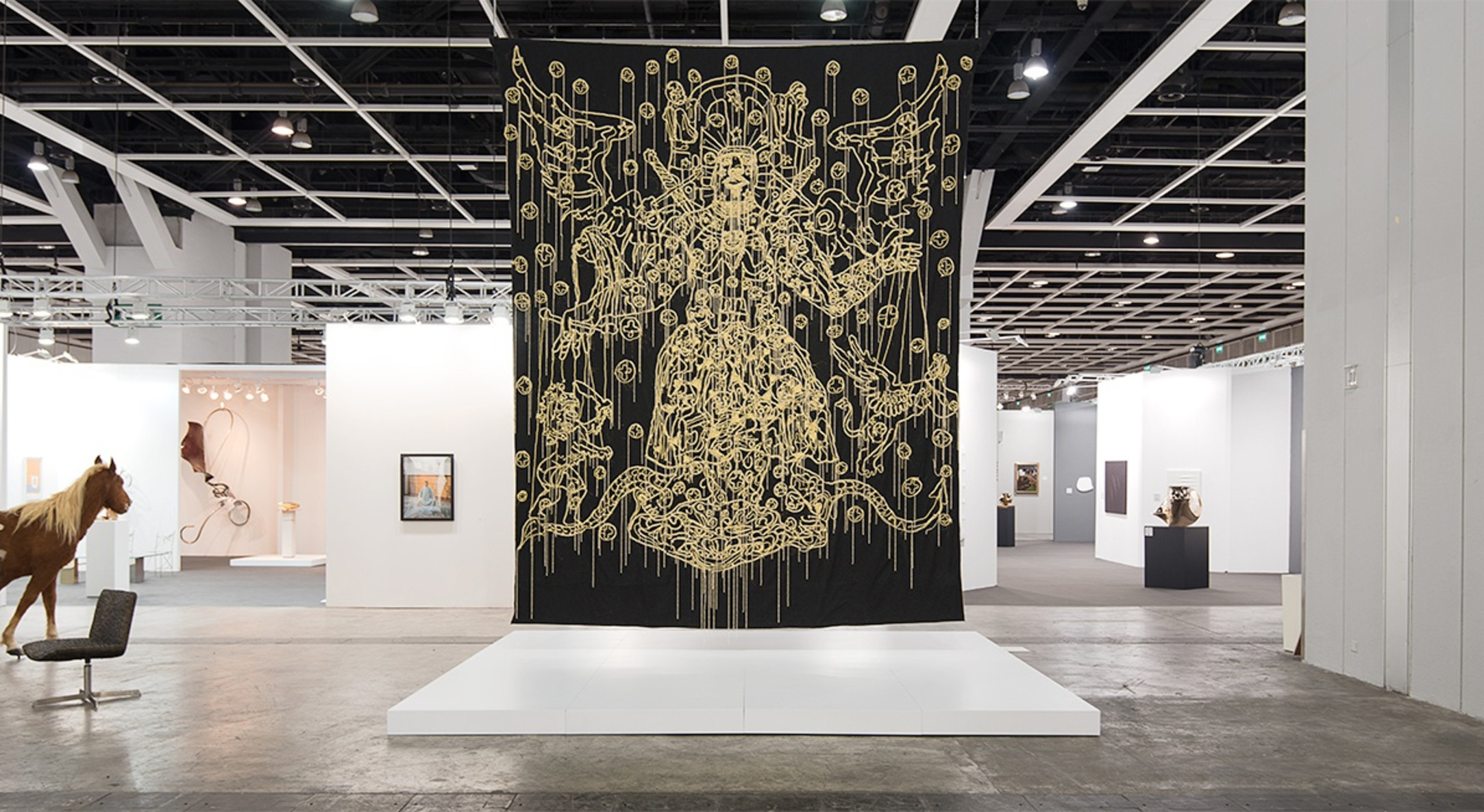 Hew Locke, Chariots of the Gods, 2009, Cord and bead embroidery on cloth, 480 x 375 cm, 189 x 147 5/8 in