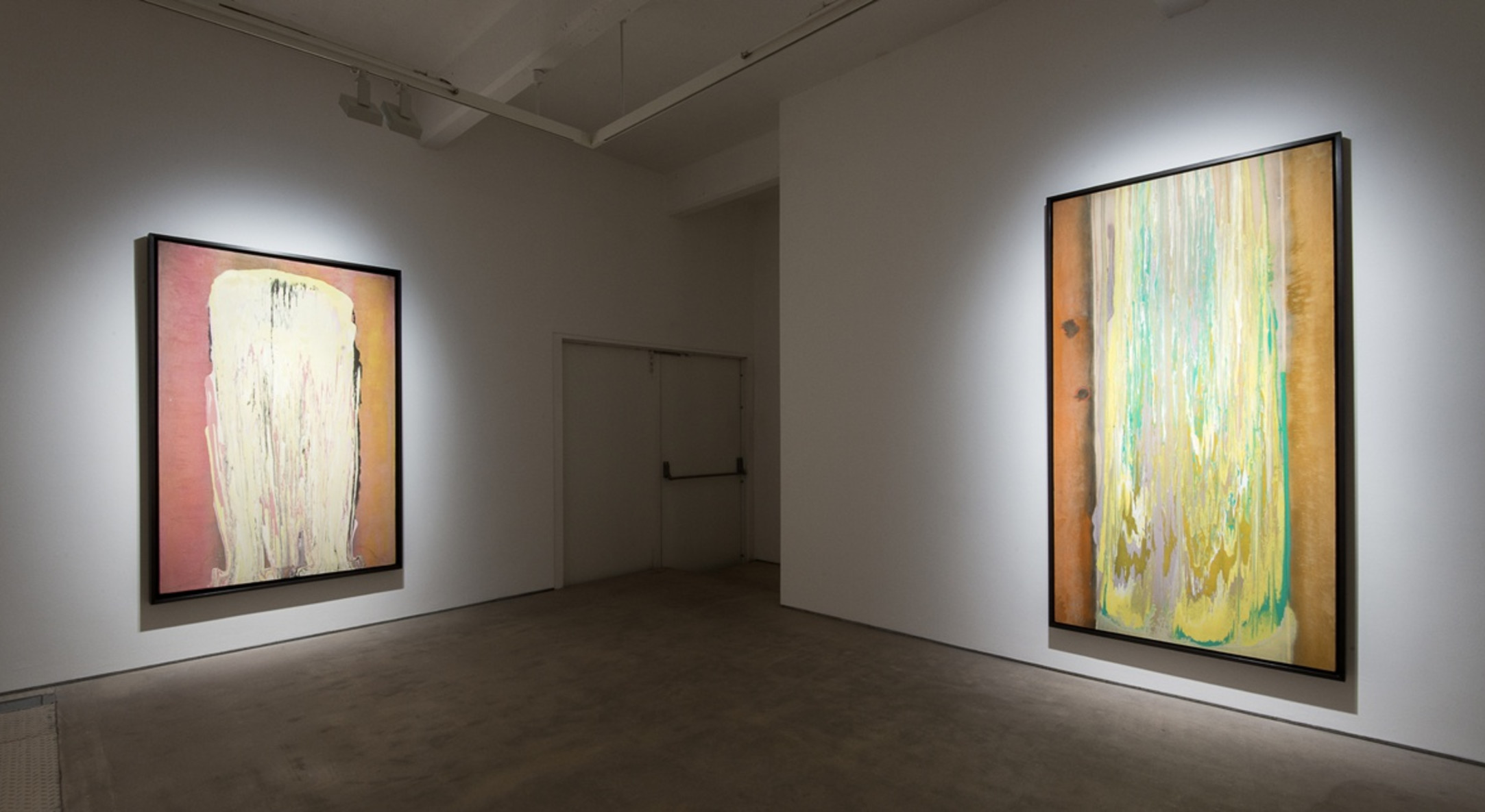 Installation view of Frank Bowling, The Poured Paintings at Hales London