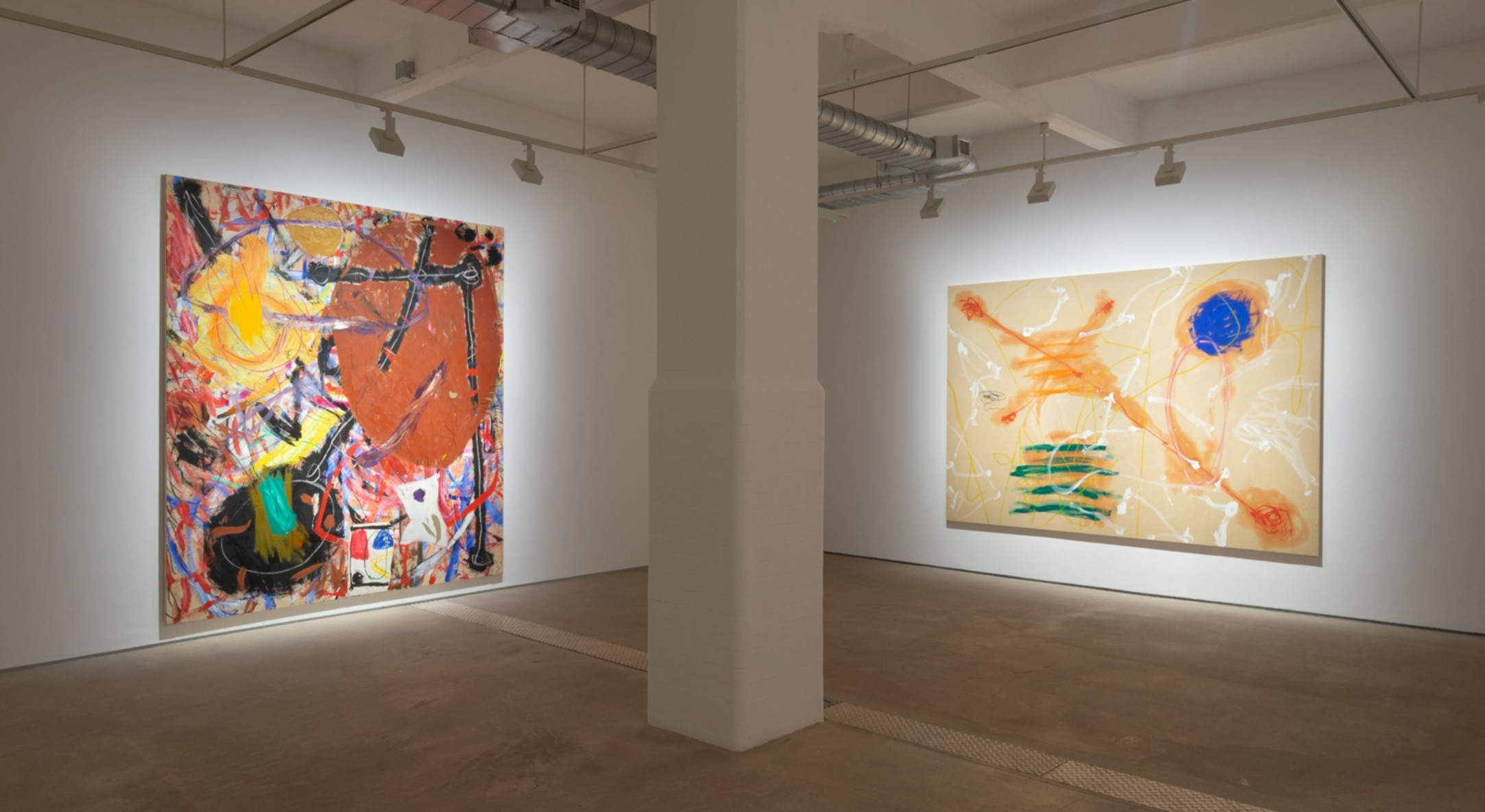 Installation view of Basil Beattie Cause & Effect, Hales London, 2020