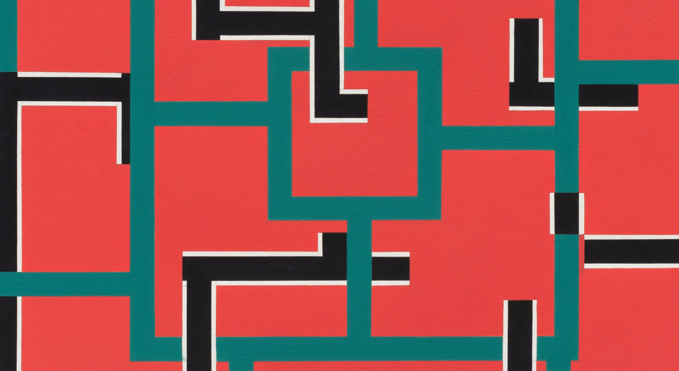 Detail of Mary Webb, Red, green, black and white, 1976