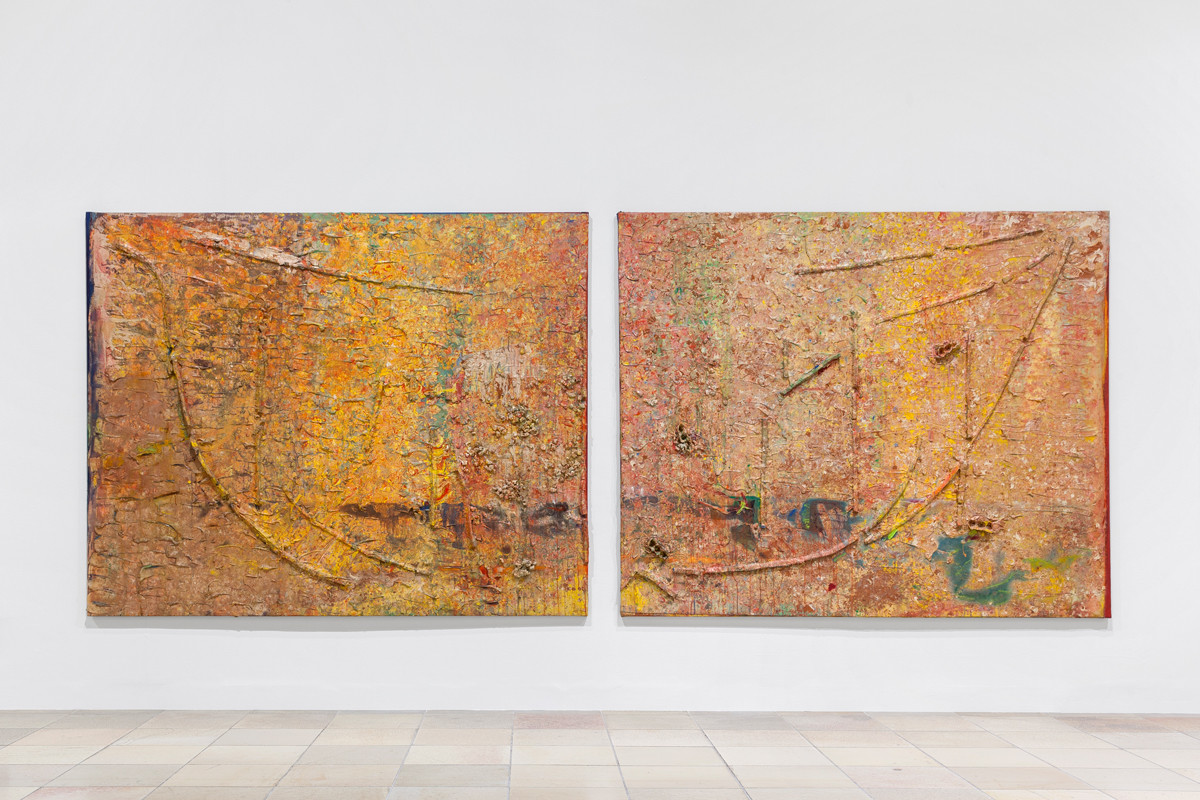 Frank Bowling, Installation view of Armageddon and Enter the Dragon, 1984