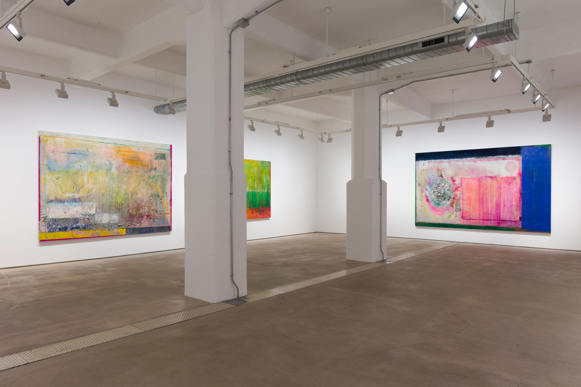 Frank Bowling, Installation view 'More Land than Landscape', Hales London, 10 May - 22 June 2019