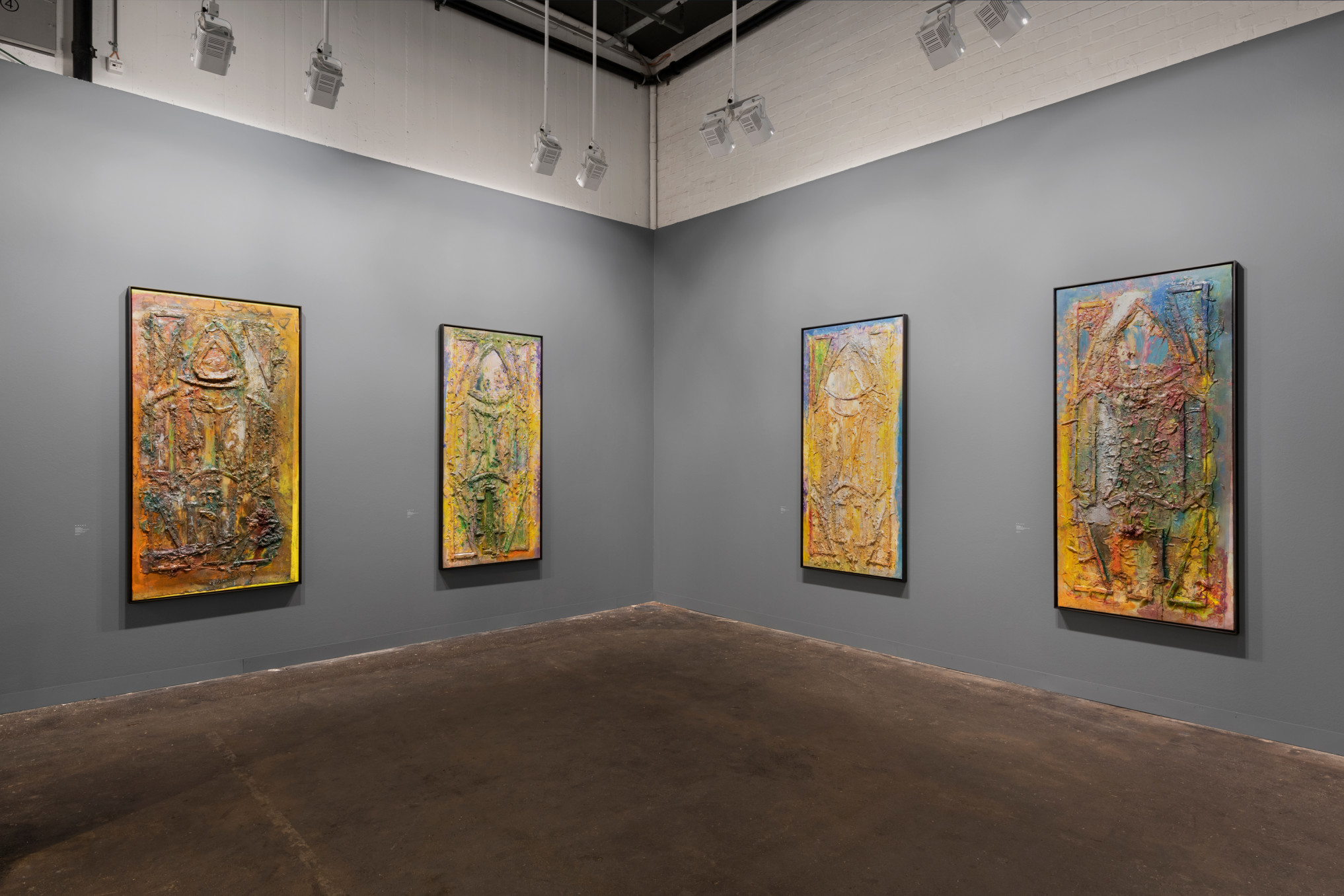 Frank Bowling, Installation view, Hales Gallery at Art Basel, Switzerland | Booth J12, 'Frank Bowling: The Cathedral Paintings', 12 - 16 June 2019