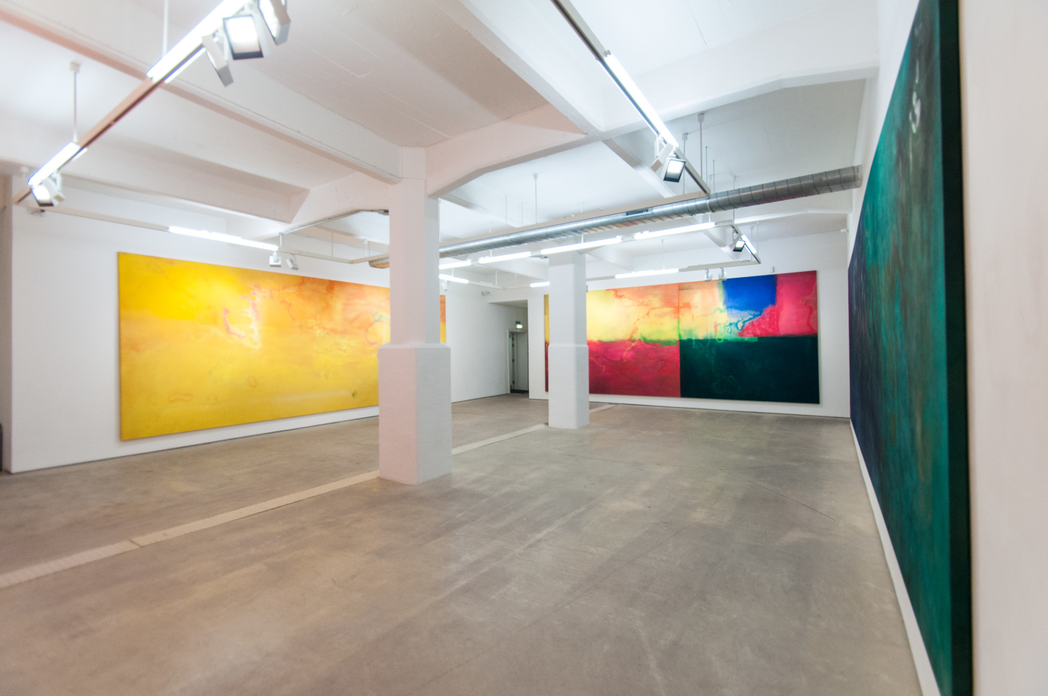 Frank Bowling, Installation view 'The Map Paintings 1967-1971', Hales London, 16 October - 23 November 2013
