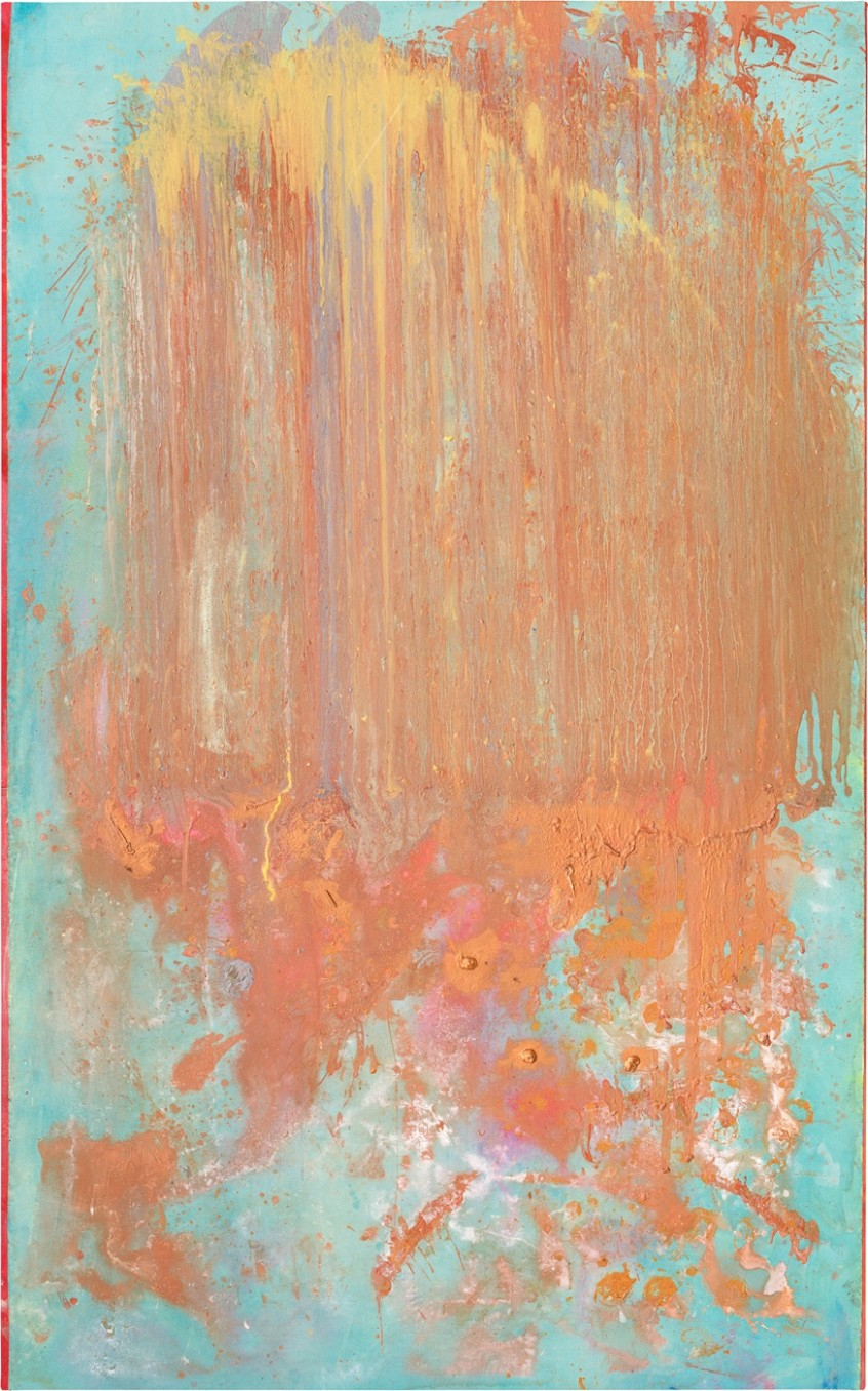 Frank Bowling, Collaboration with MS & Damidge, 2016, acrylic on canvas, 295 x 184 cm, 116 1/8 x 72 1/2 in
