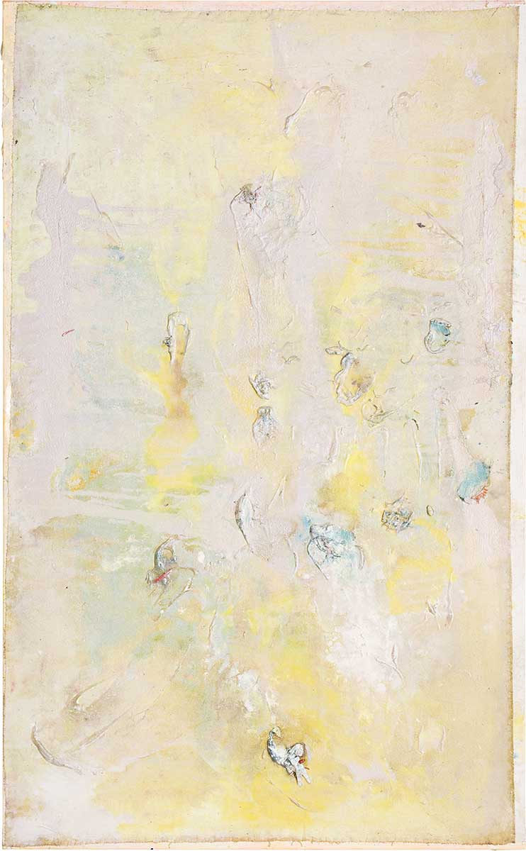 Frank Bowling, Horsing Around, 2016, Acrylic on collaged and printed canvas with plastic additions, 152.4 x 94 cm, 60 x 37 1/8 in