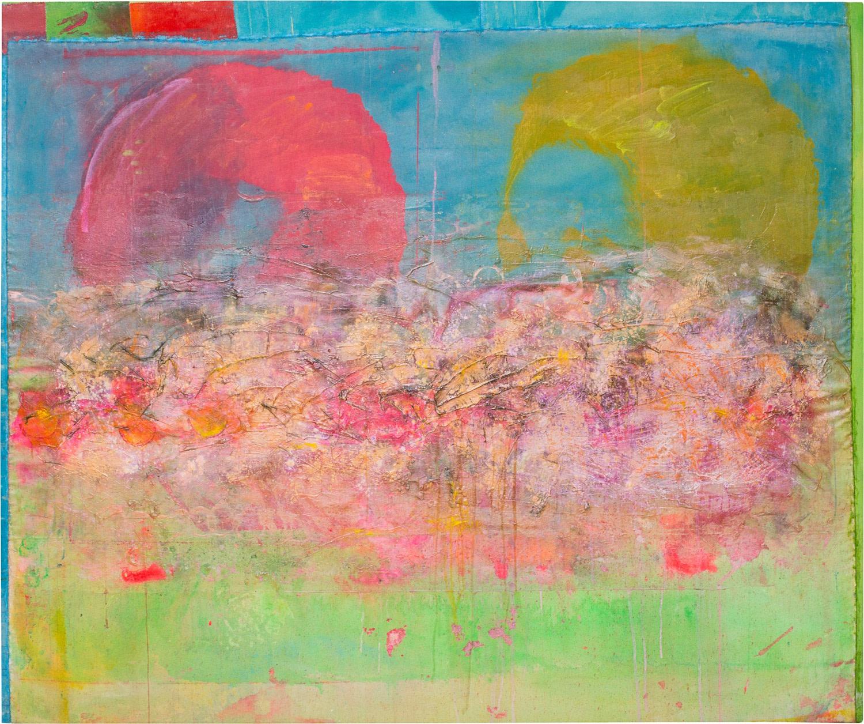 Frank Bowling, Little Bird Overhead, 2016, Acrylic on canvas, 153 x 183.5 cm, 60 1/4 x 72 1/4 in