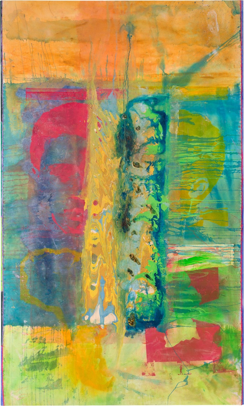 Frank Bowling, Pouring Over 2 Morrison Boys & 2 Maps II, 2016, Acrylic on canvas, 306 x 184 cm, 120 1/2 x 72 1/2 in
