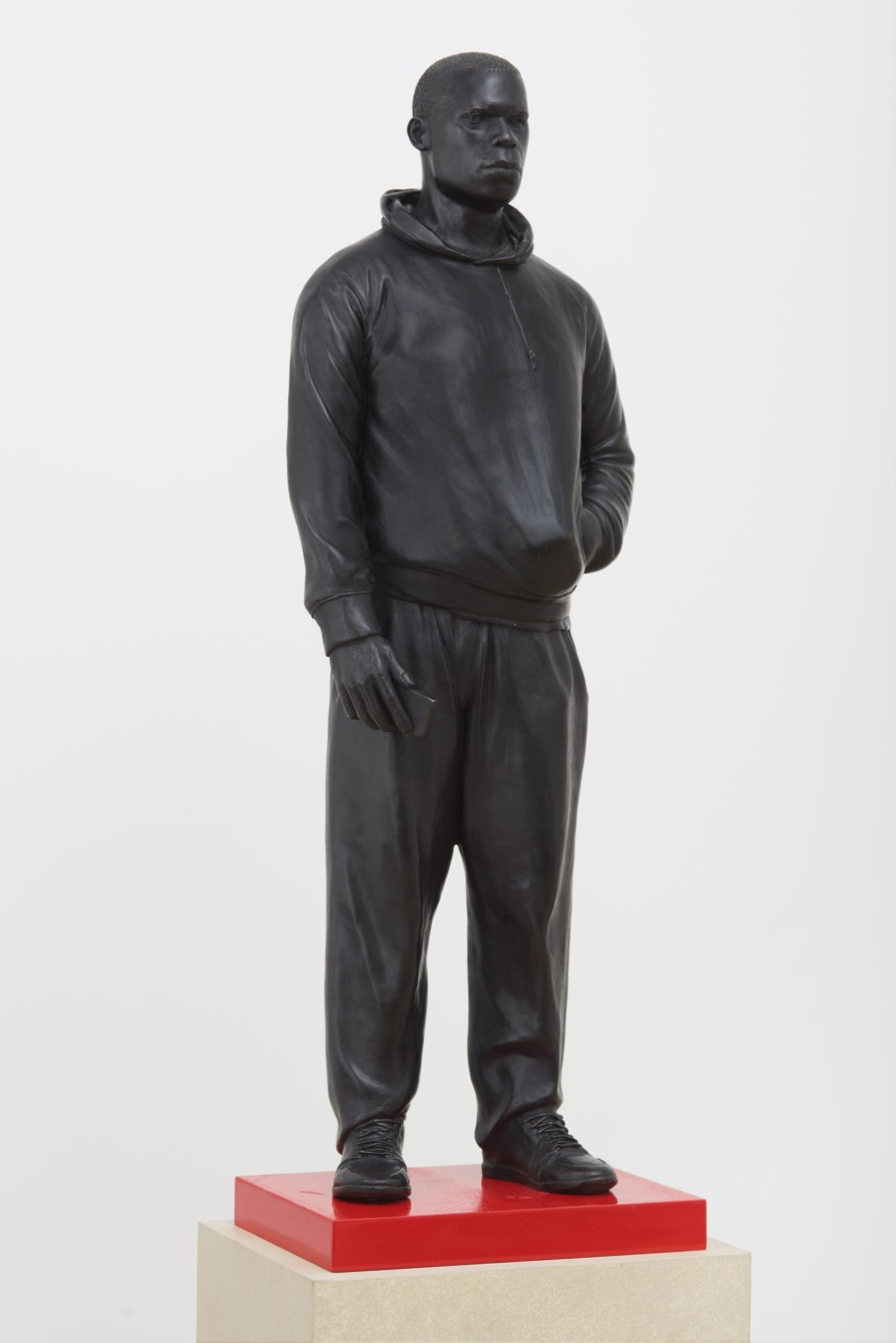 Thomas J Price, Plain to See, 2015, Bronze, perspex and concrete plinth, Overall: 172.4 x 36 x 36 cm, 67 7/8 x 14 1/8 x 14 1/8 in, Bronze (including screws on the bottom): 69 x 23 x 14 cm, 27 1/8 x 9 1/8 x 5 1/2 in, Base: 3.2 x 26 x 26 cm, 1 1/4 x 10 1/4