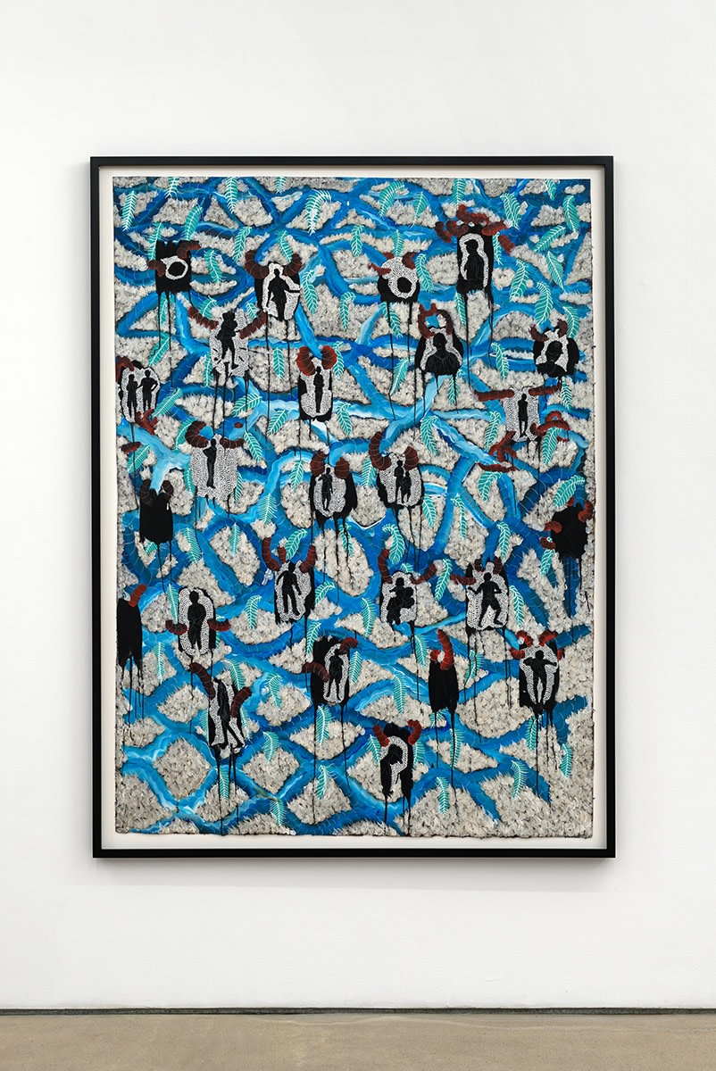 Omar Ba, Eternal Resemblance 1, 2017, Oil, pencil, acrylic, ink, and gouache on craft paper with polyester foam, 191.5 x 140 cm, 75 3/8 x 55 1/8 in, Framed: 204.5 x 153 x 5 cm, 80 1/2 x 60 1/4 x 2 in
