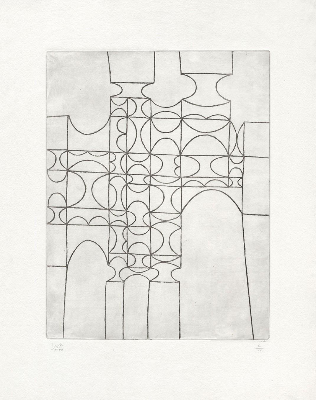 Anwar Jalal Shemza, City Gate, 1961, Aquatint, 56.5 x 43.8 cm, 22 1/4 x 17 1/4 in,  Framed: 62.2 x 51.6 cm, 24 1/2 x 20 3/8 in