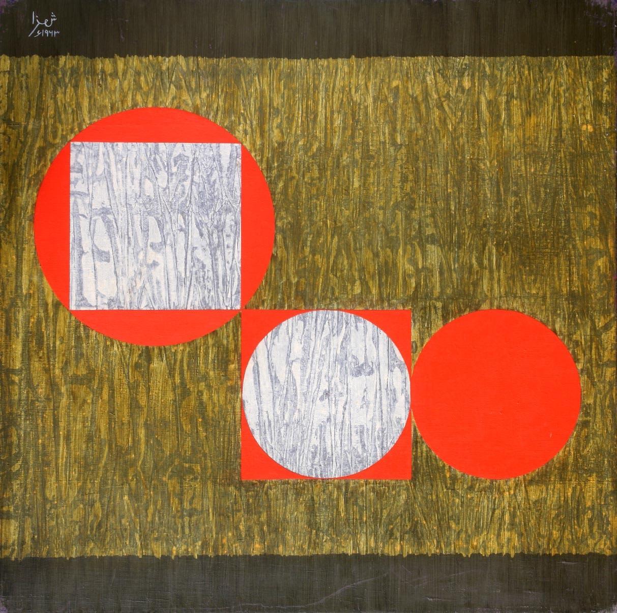 Anwar Jalal Shemza, Square Composition 10, 1963, Oil on hardboard, 61 x 61 cm, 24 1/8 x 24 1/8 in, Framed: 64.7 x 65 cm, 25 1/2 x 25 5/8 in