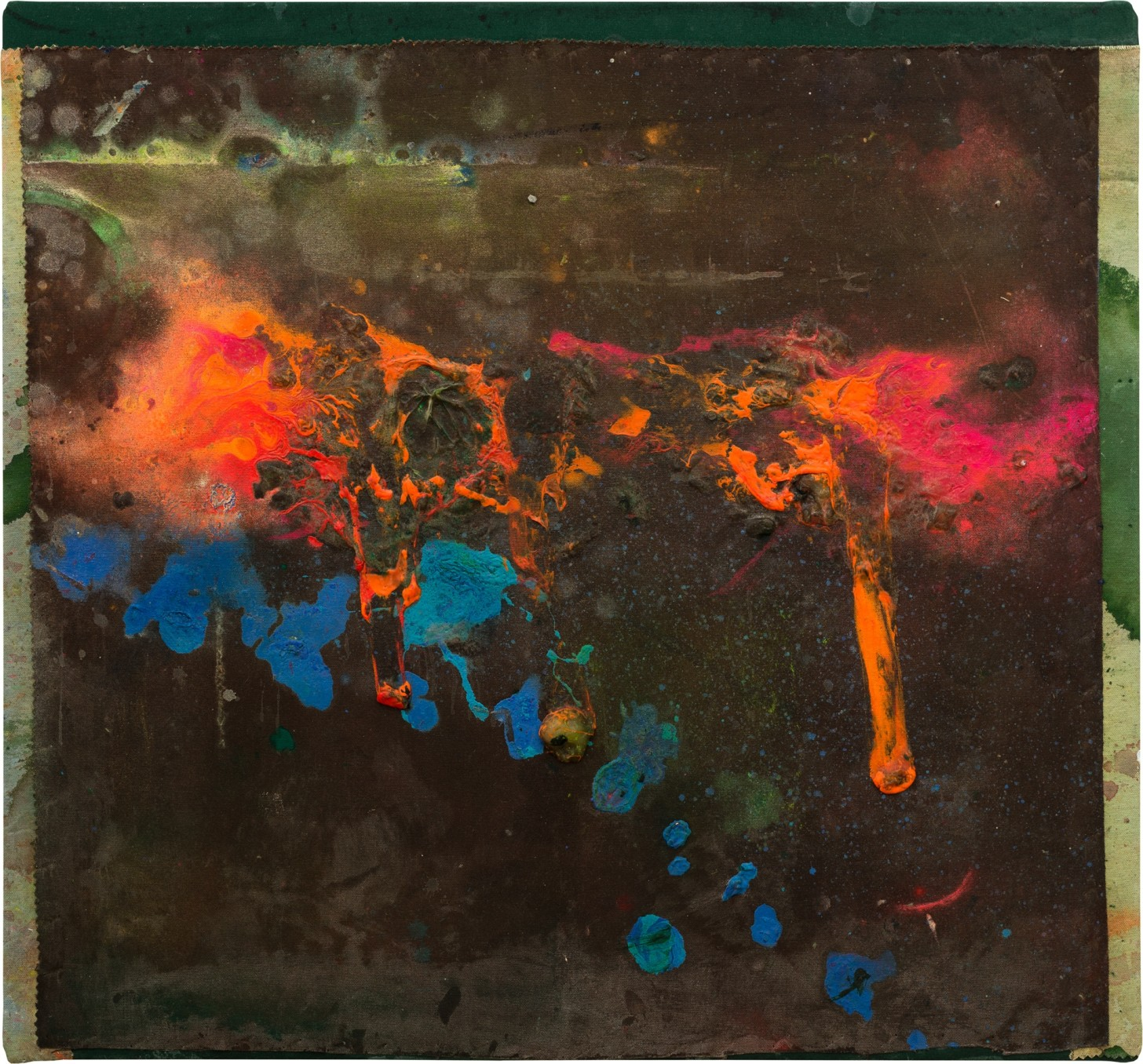 Frank Bowling, Cyclist, 2017, Acrylic on collaged canvas, 59.3 x 64.6 cm, 25 1/2 x 23 3/8 in