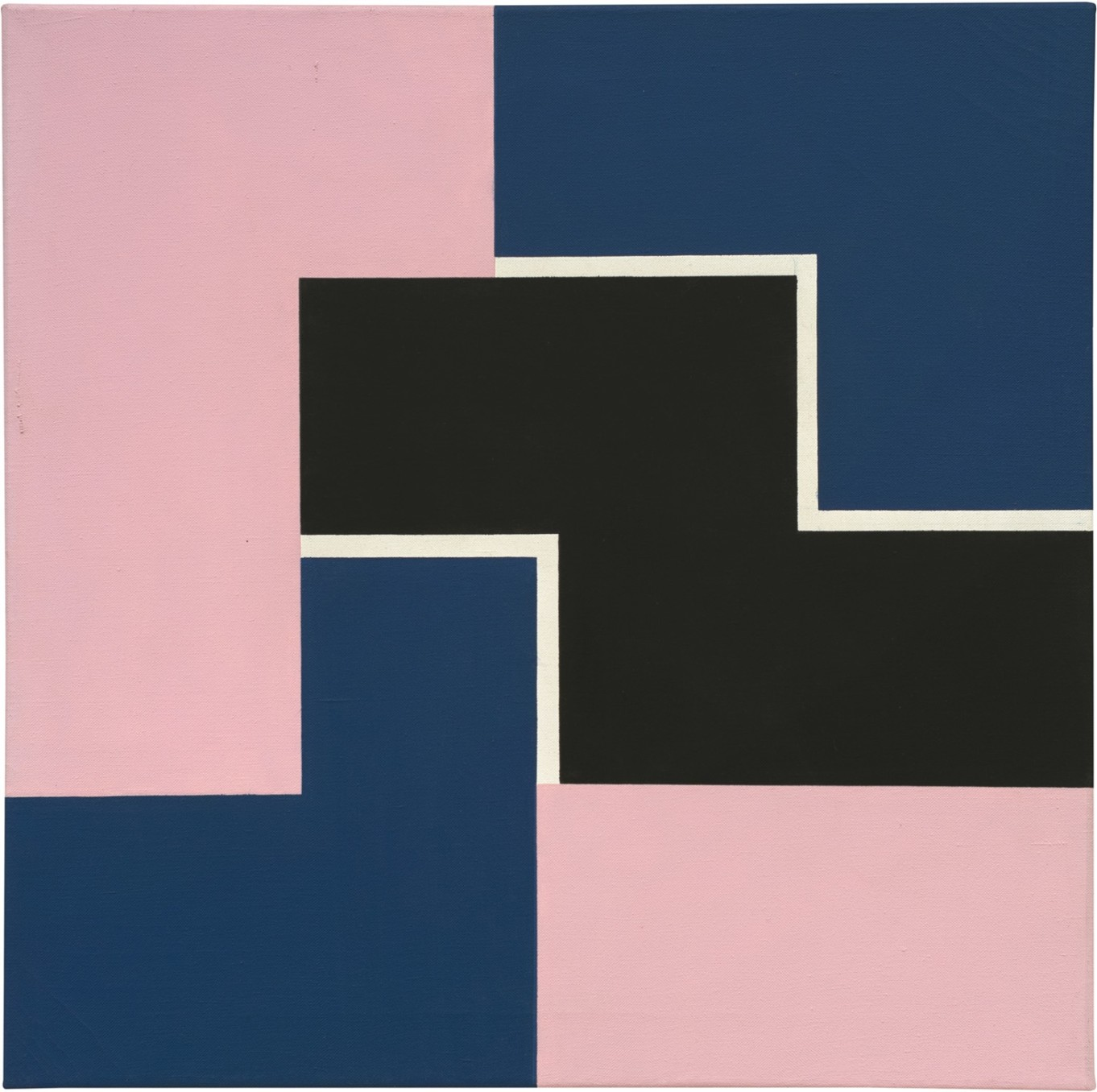 Mary Webb, PINK, BLUE & BLACK, 1969, Oil on canvas, 65 x 65 cm, 25 5/8 x 25 5/8 in, Framed: 70 x 70 x 4 cm, 27 1/2 x 27 1/2 x 1 5/8 in