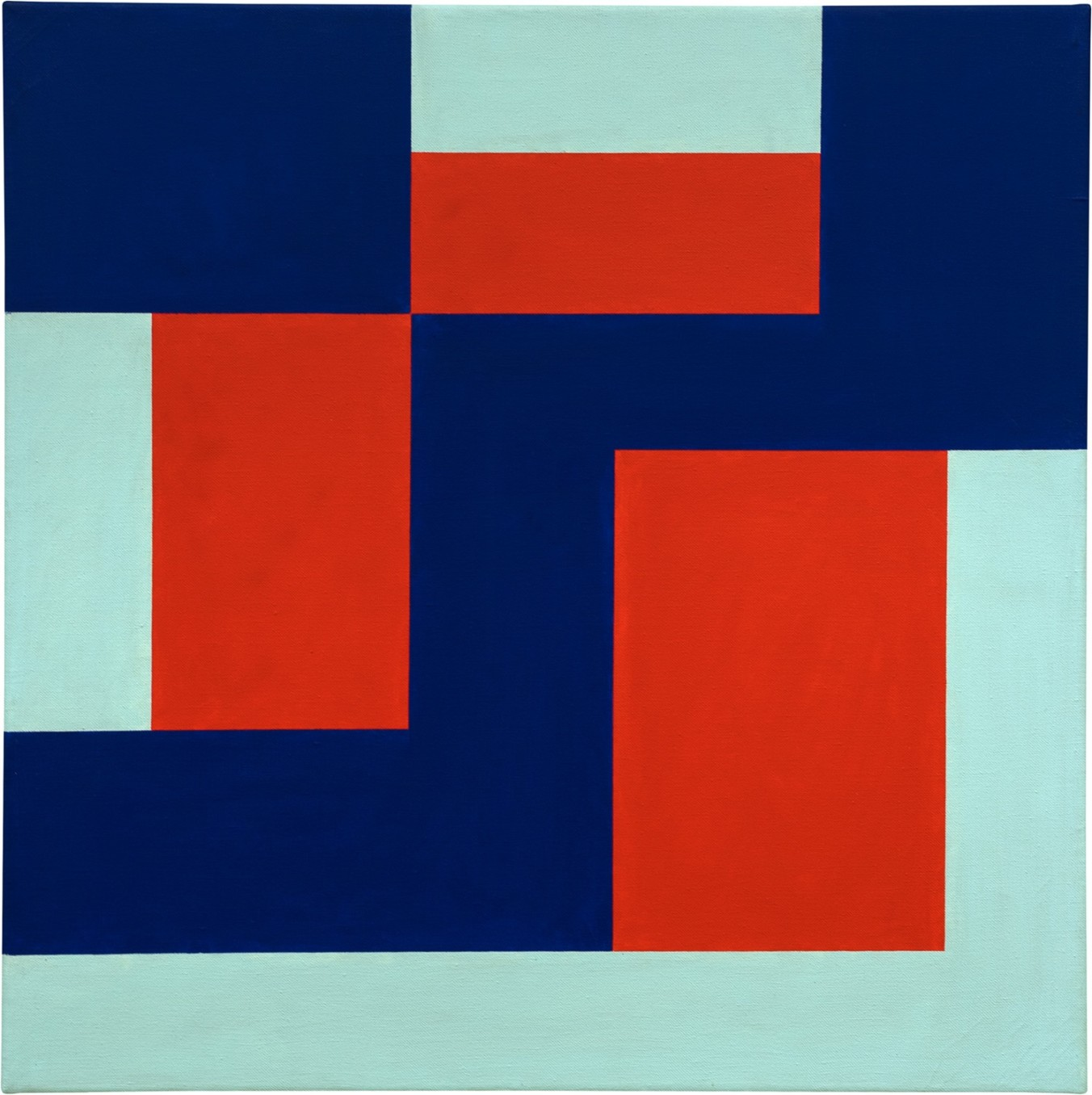 Mary Webb, Red blue & green, 1969, Oil on canvas, 65 x 65 cm, 25 5/8 x 25 5/8 in, Framed: 70 x 70 x 4 cm, 27 1/2 x 27 1/2 x 1 5/8 in