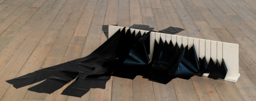 IAIN BAXTER&, Stripped and Racked Franz Kline, Mahoning, 1956, 1966, Painted wood and fabric, 30.5 x 124.5 x 29.2 cm, 12 x 49 x 11 1/2 in