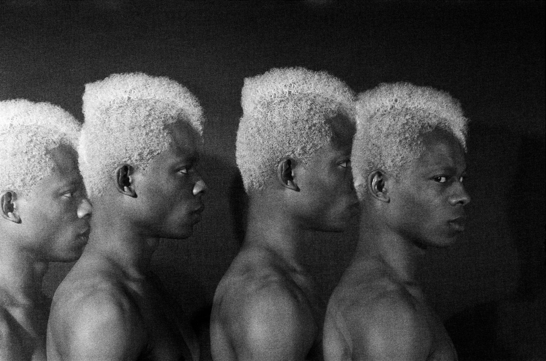 Rotimi Fani-Kayode, Four Twins, 1985/2018, Gelatin silver print, 22.9 x 35.2 cm, 9 x 13 7/8 in, Framed: 38.7 x 54.9 cm, 15 1/4 x 21 5/8 in