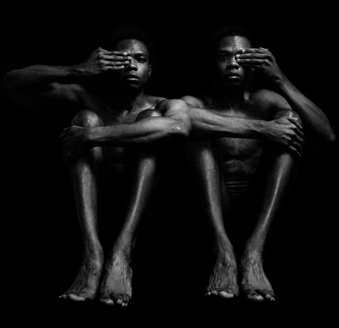 Rotimi Fani-Kayode, Half Opened Eyes Twins, 1989, Gelatin silver print, 25.1 x 25.2 cm, 9 7/8 x 9 15/16 in, Framed: 44.8 x 42.2 cm, 17 5/8 x 16 5/8 in