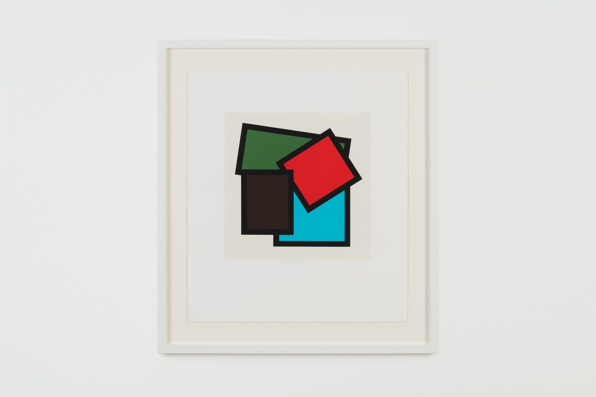 Mary Webb, Brown, red, green & blue, 1996, Screenprint on paper, Print: 33 x 33 cm, 13 x 13 in, Paper: 56.5 x 49 cm, 22 1/4 x 19 1/4 in, Edition of 32
